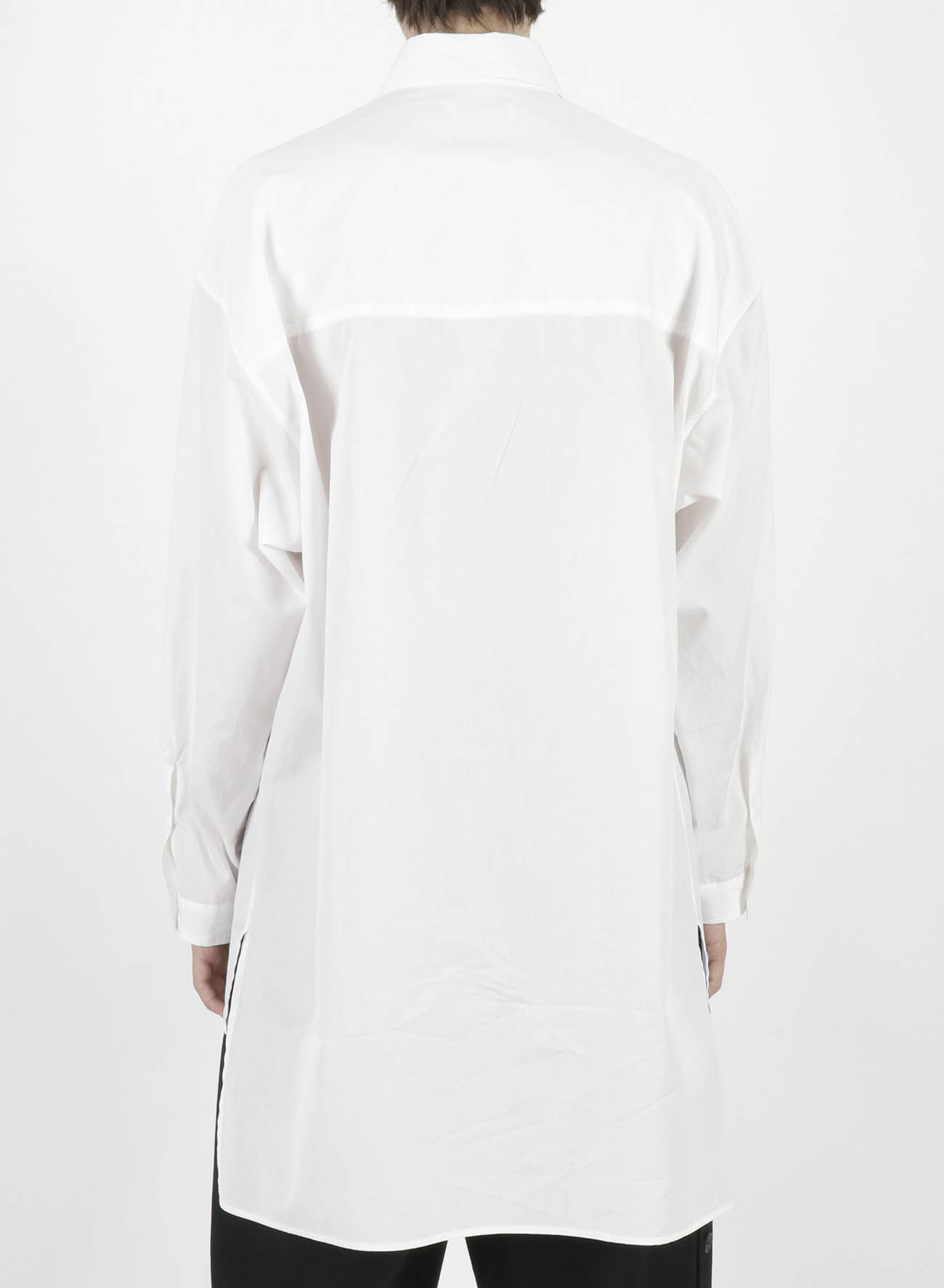 CHAIN STITCH BROAD FRONT BACK UNEVEN BLOUSE