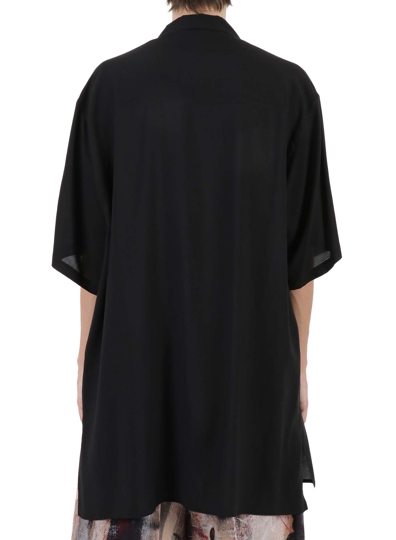 CELLULOSE LAWN OPEN COLLAR SHORT SLEEVES BLOUSE