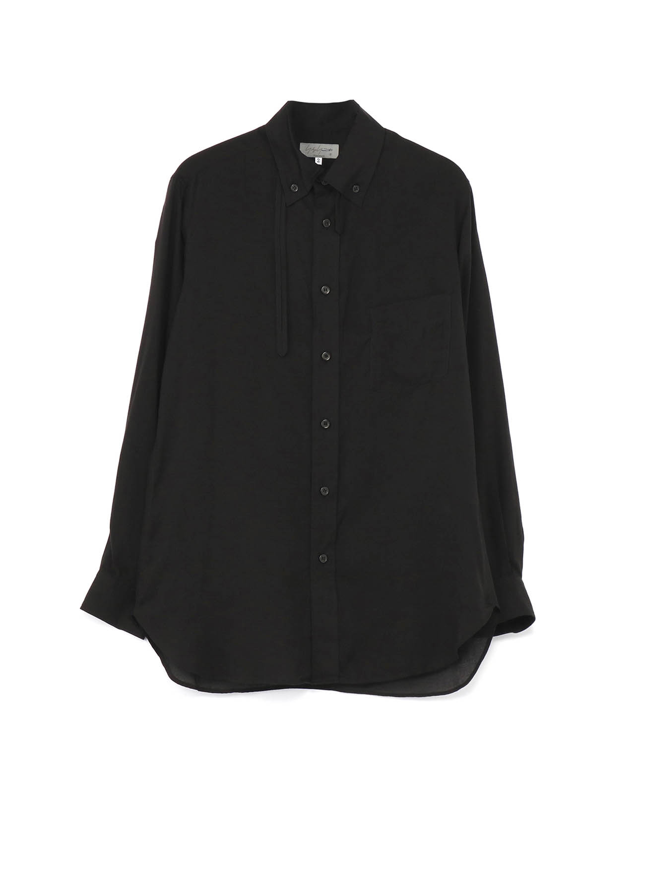 CELLULOSE LAWN STAND COLLAR LOOP BLOUSE