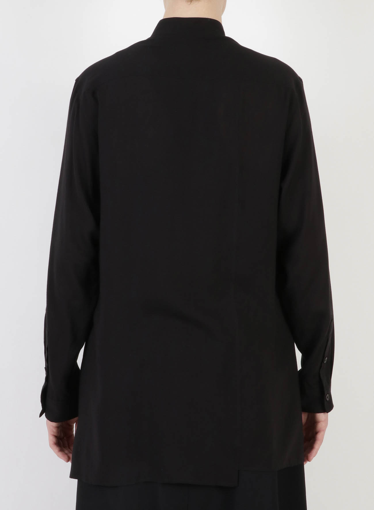 CELLULOSE LAWN UNEVEN STAND COLLAR BLOUSE
