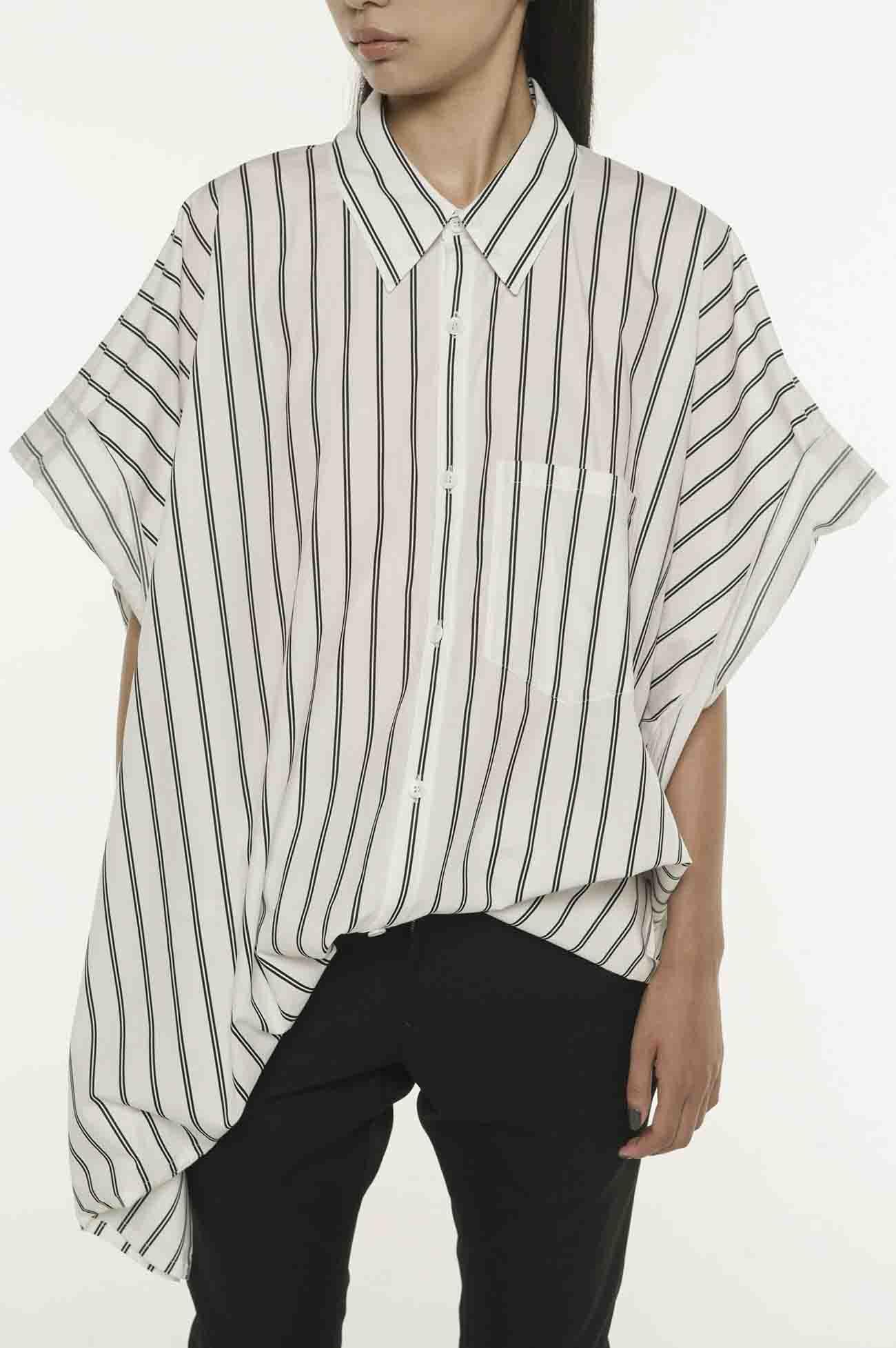 衬衫条纹方形衬衫A.