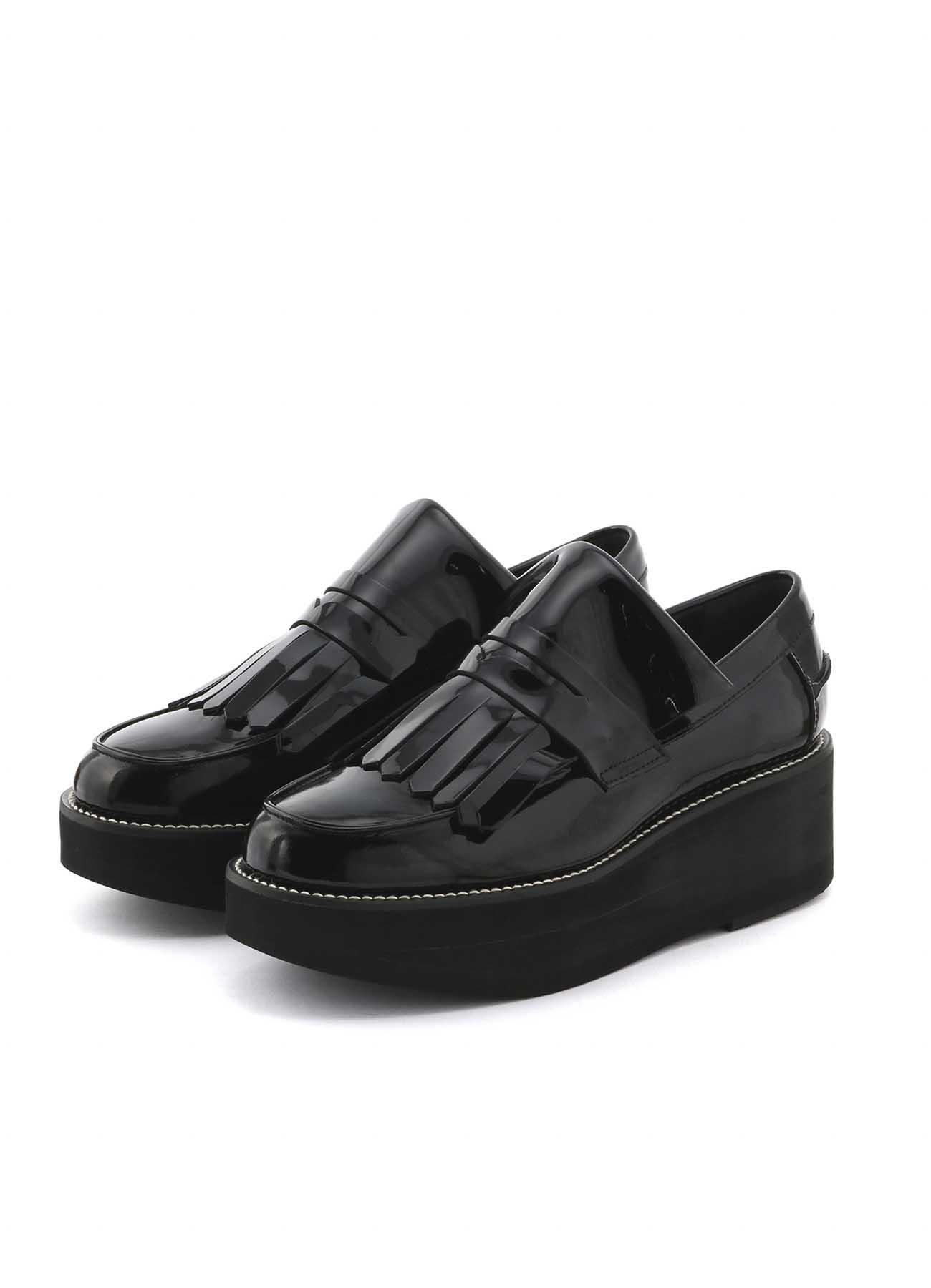 漆皮厚底乐福鞋