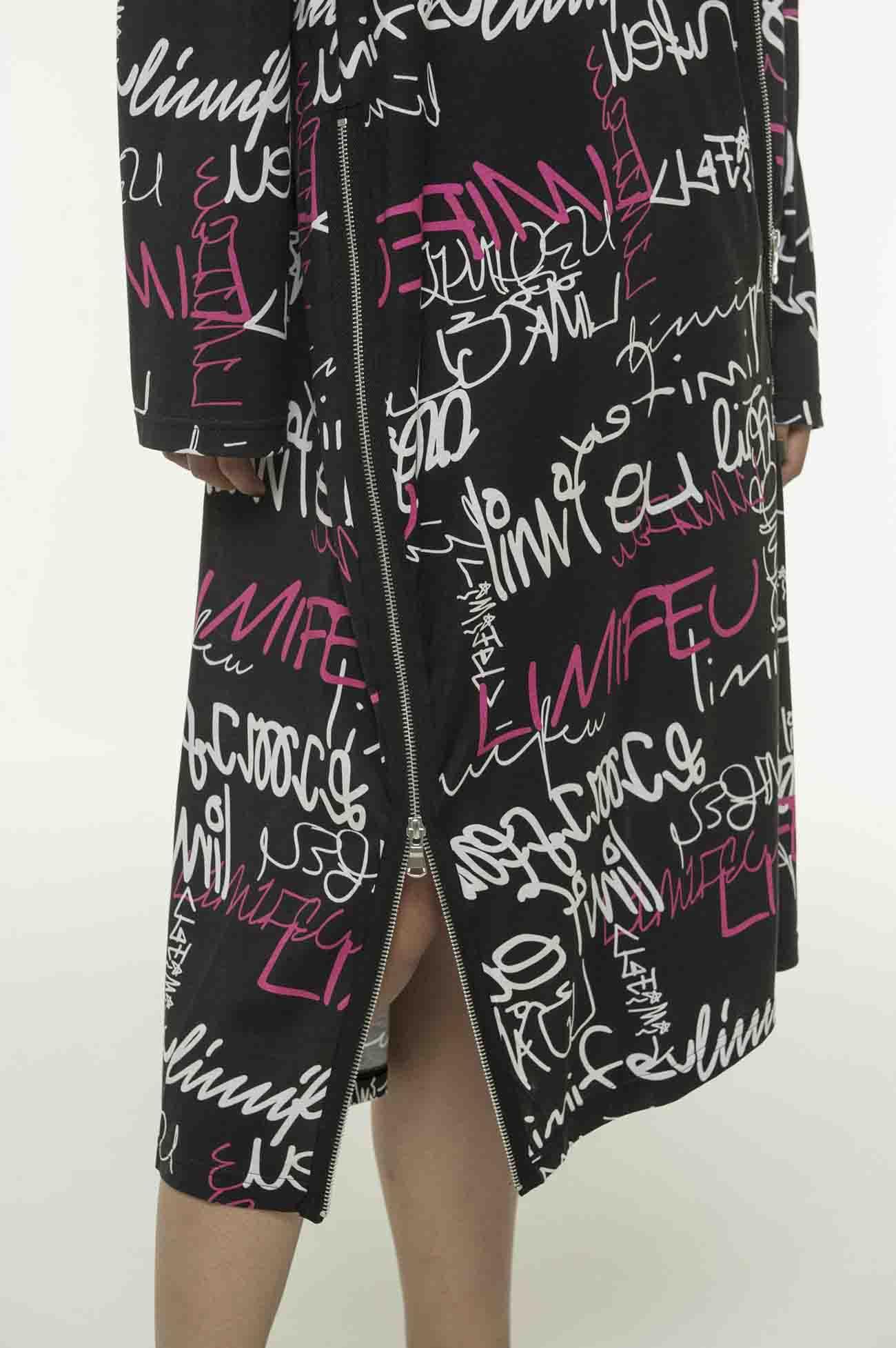 LOGO印花拉链装饰连衣裙