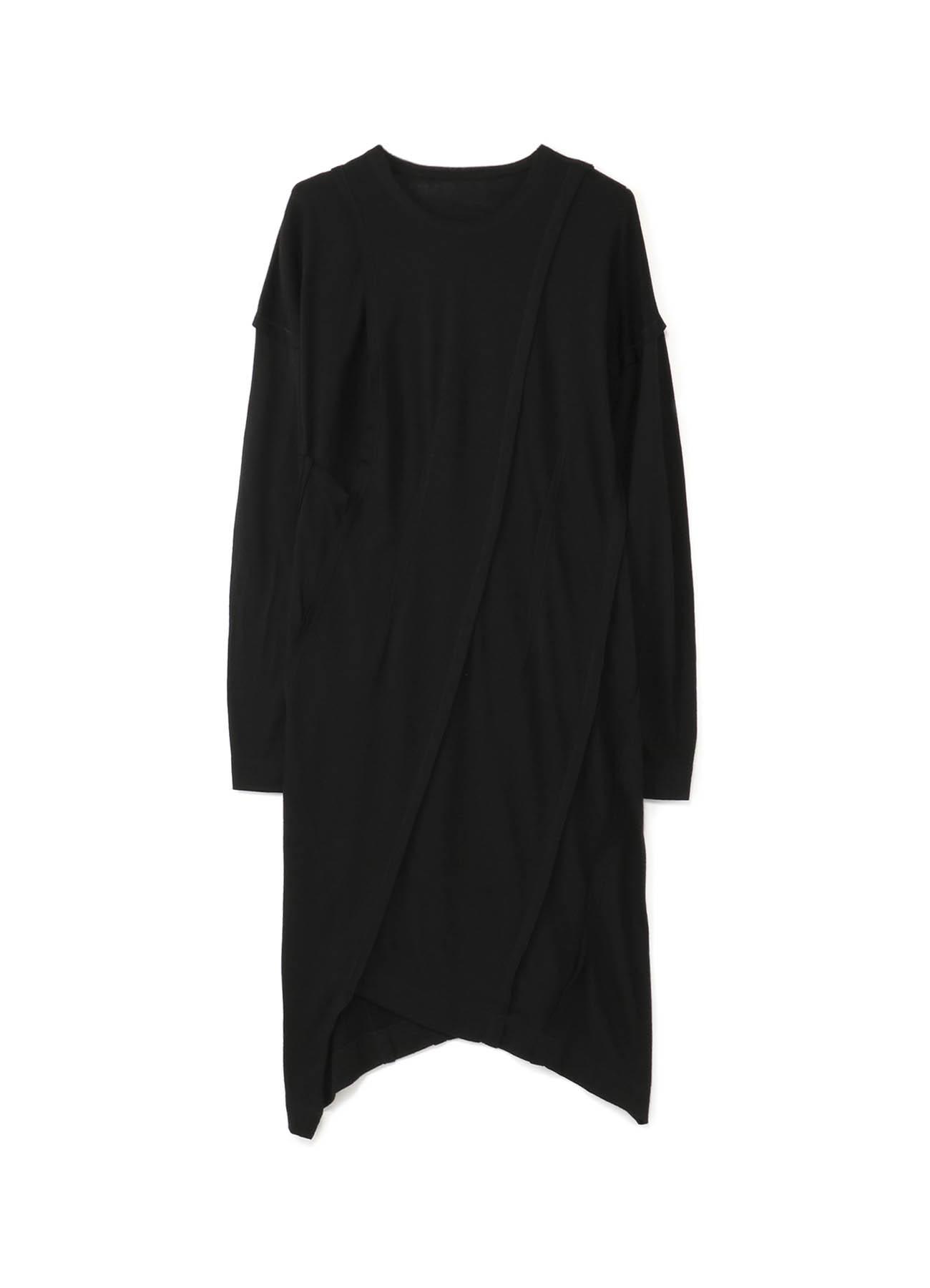 羊毛拼接设计长款上衣