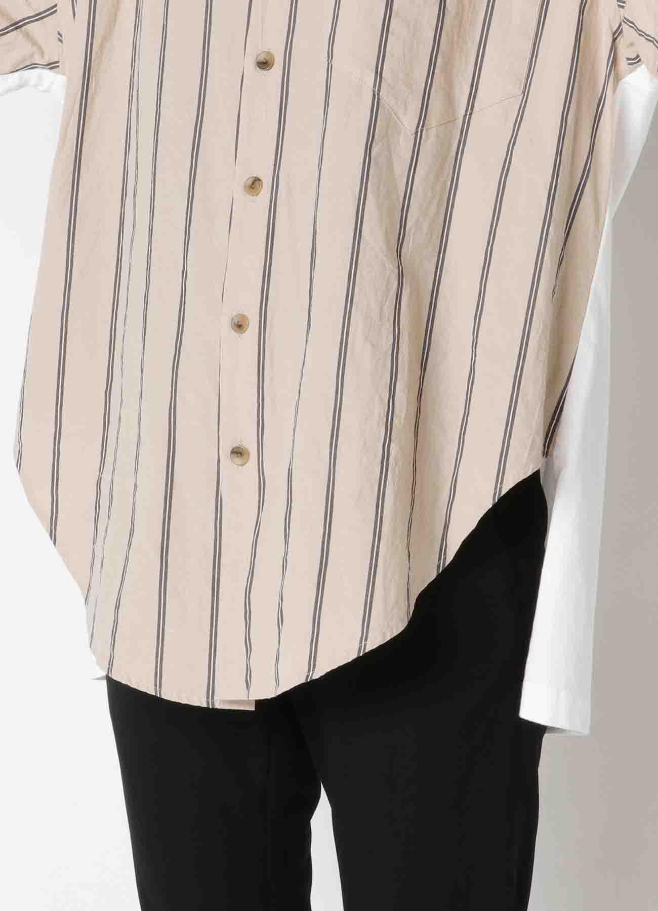 Stripe+feu Print Mix A Docking Shirt