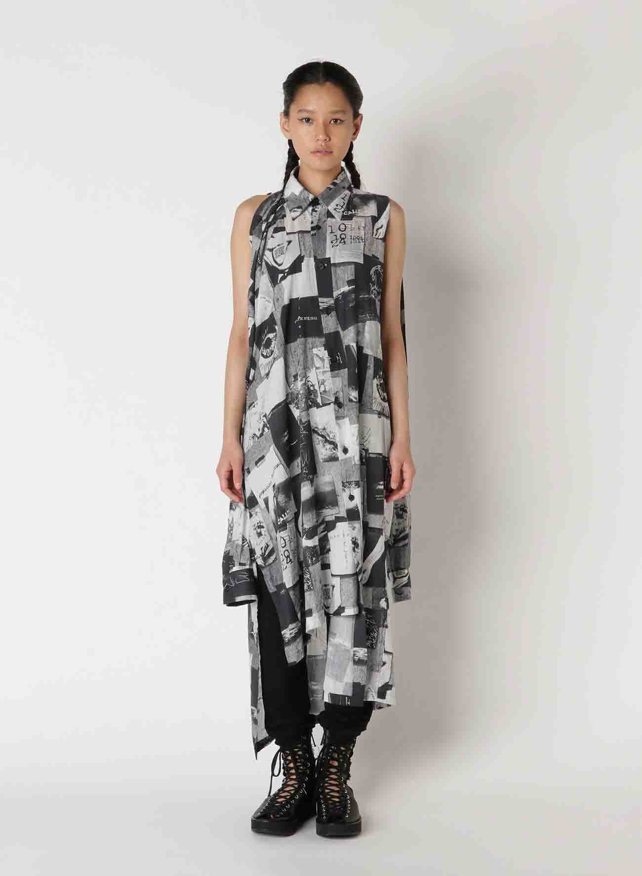 2021 Material Print Compass Asymmetry Dress