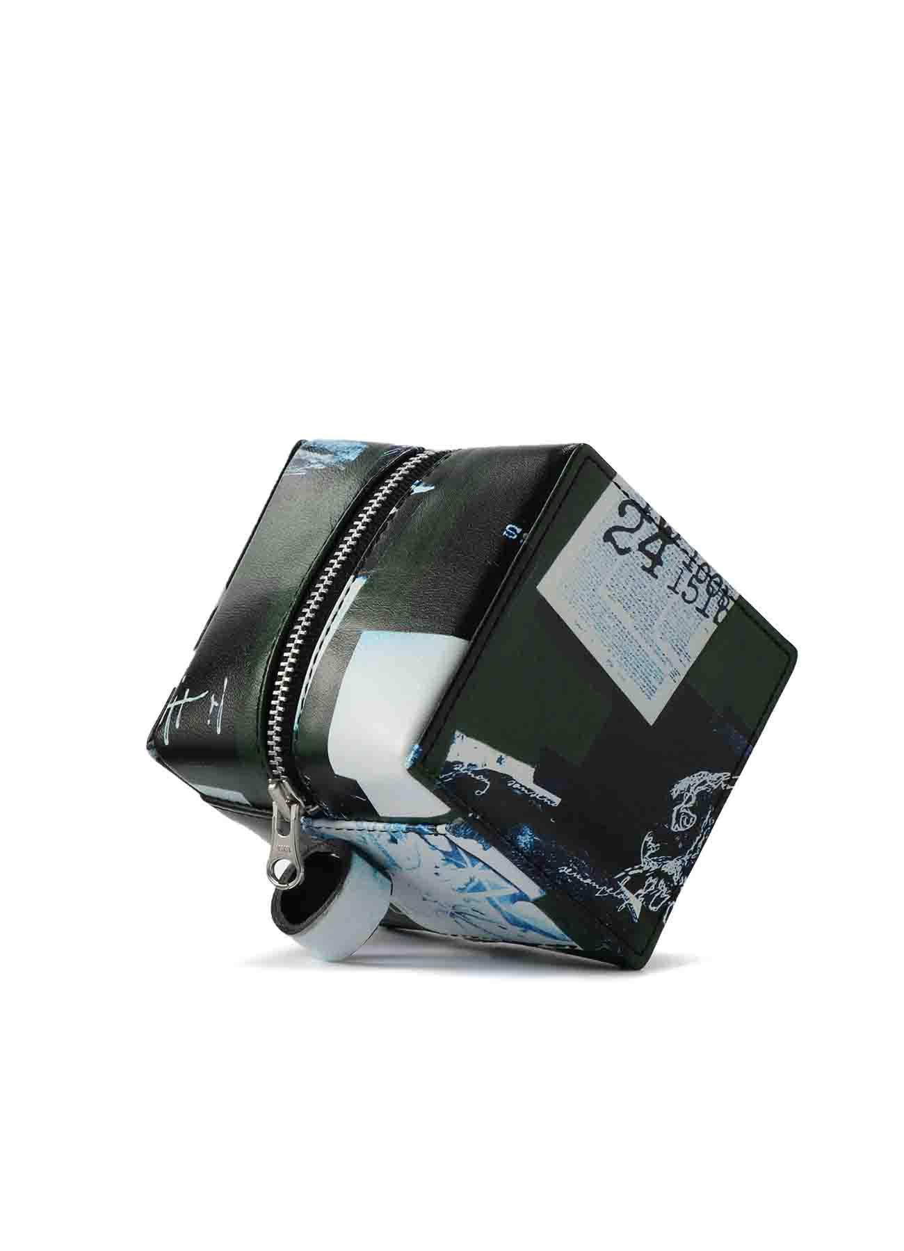 2021 Material Print Leather C Mini Cube Bag