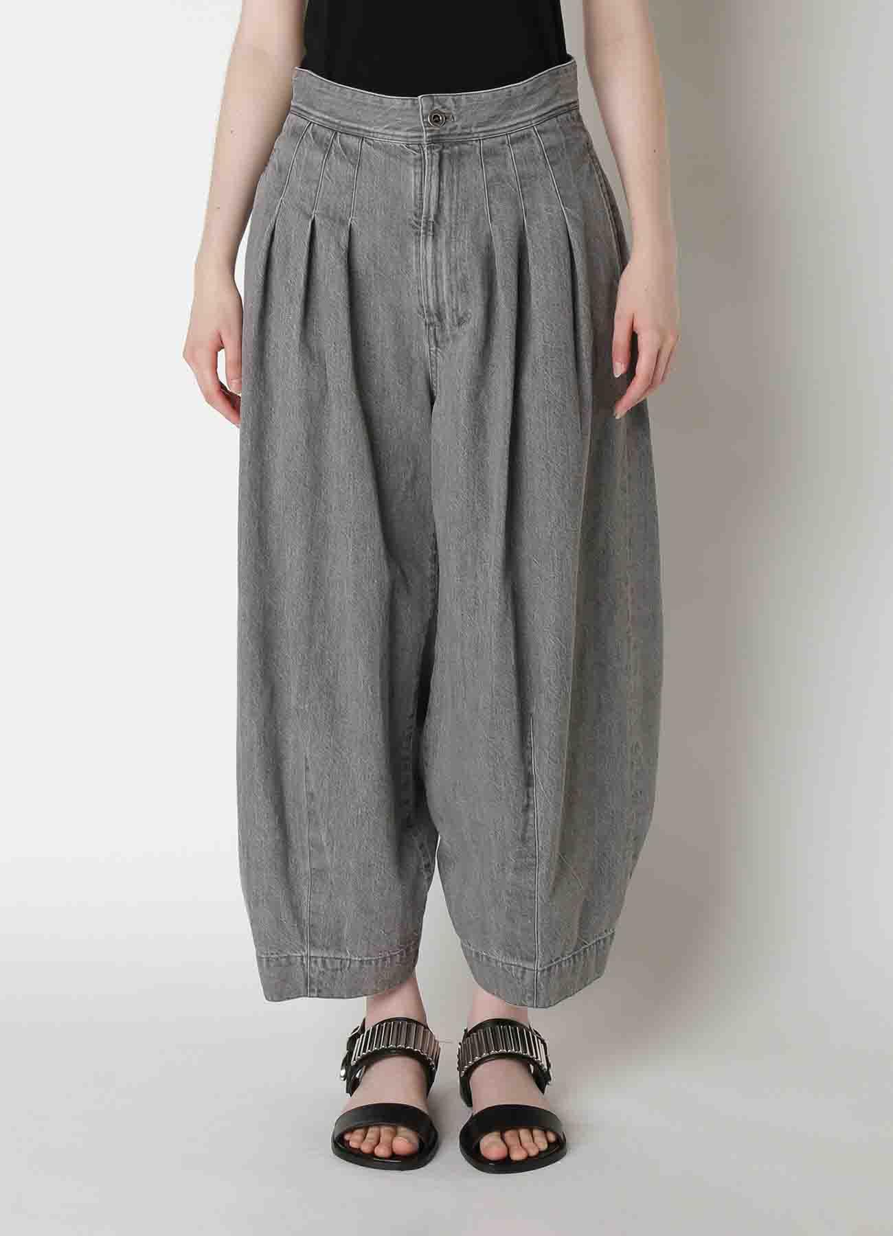 Grey Denim Design Tuck Pants