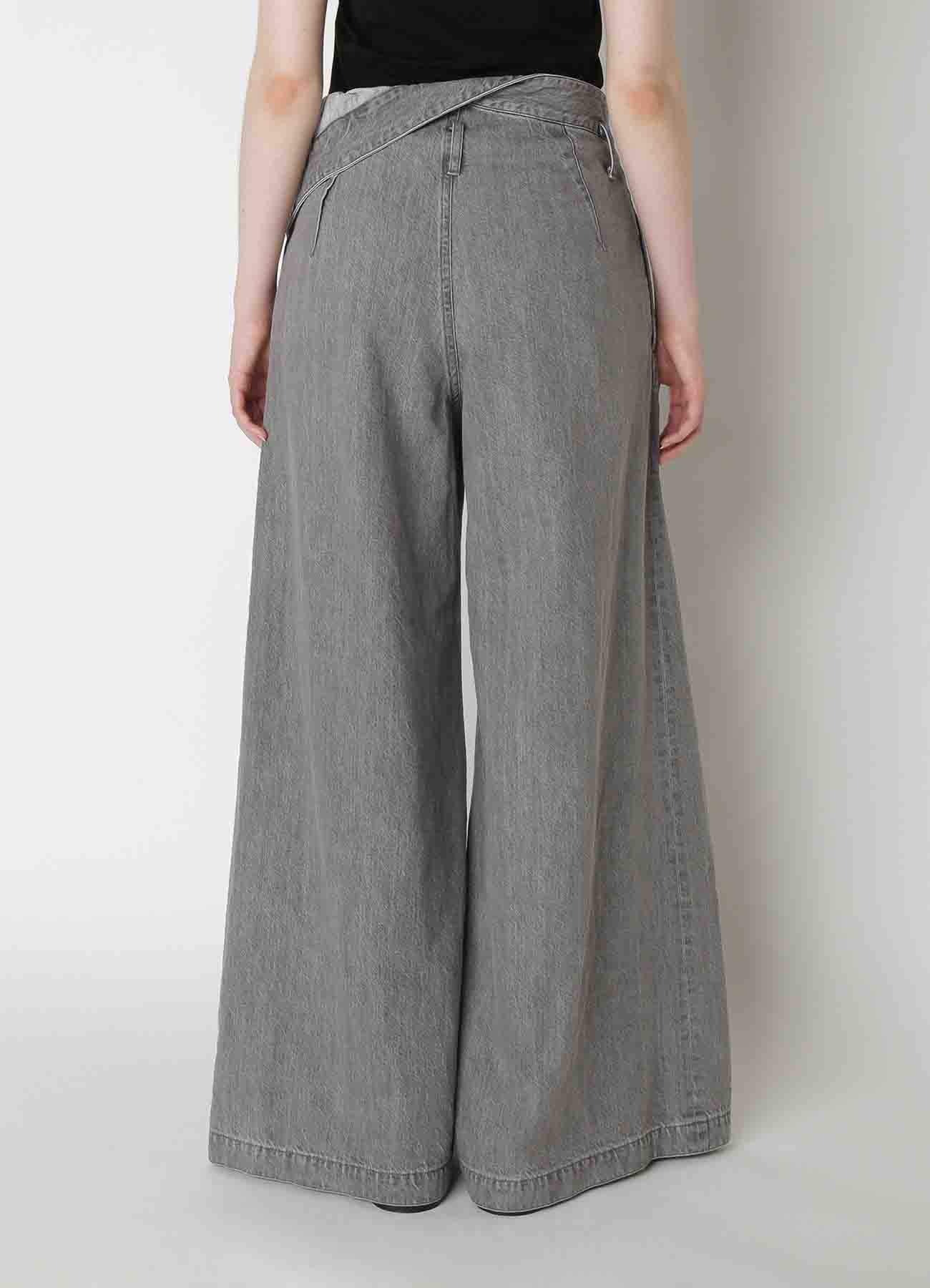 Grey Denim Waist Fold Pants