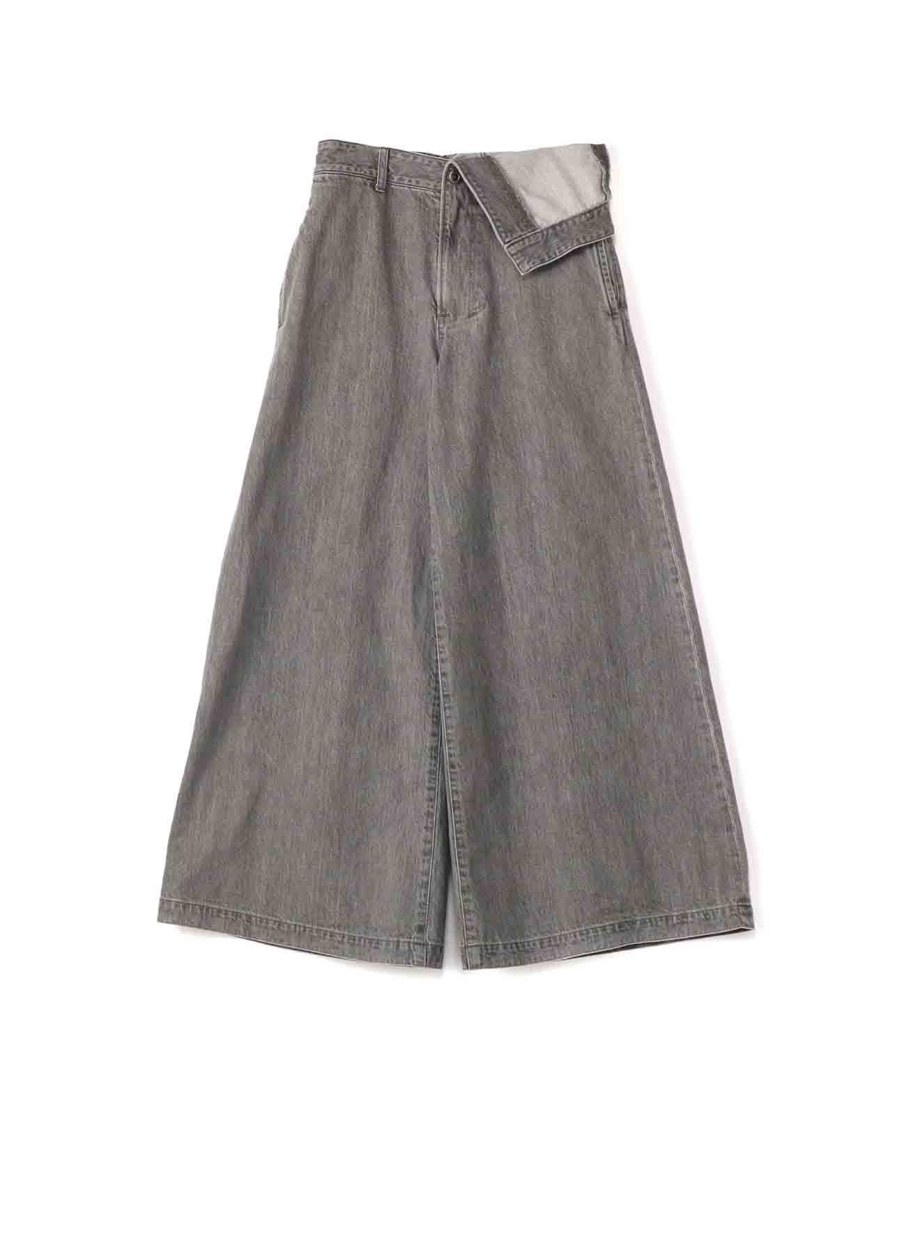 Grey Denim Waist Fold Pants