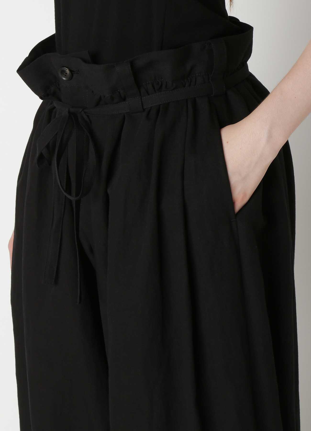 C/Li Poplin Thin Belt Gather Pants