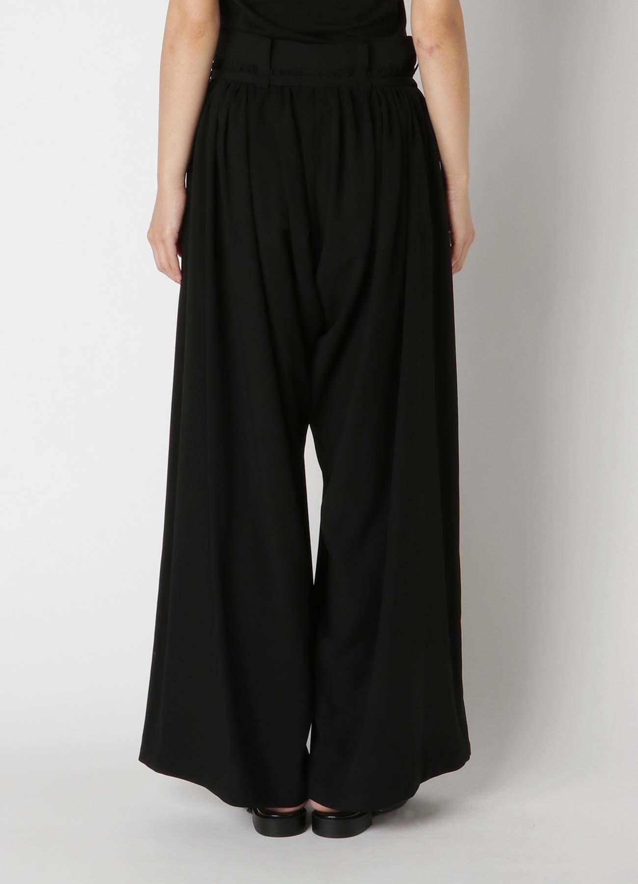 Rayon Cloth Thin Belt Gather Pants