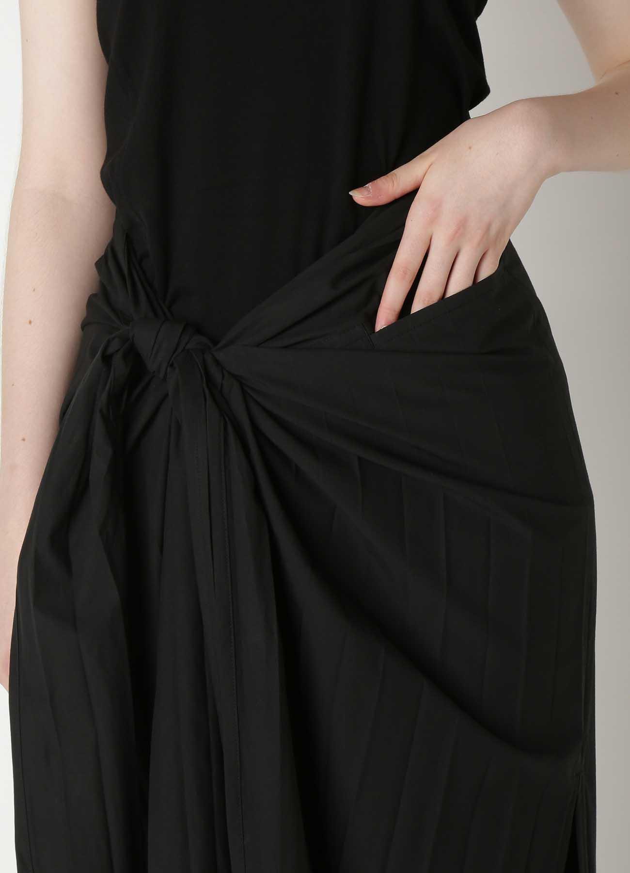 Pleats Typewriter Waist Knot Skirt