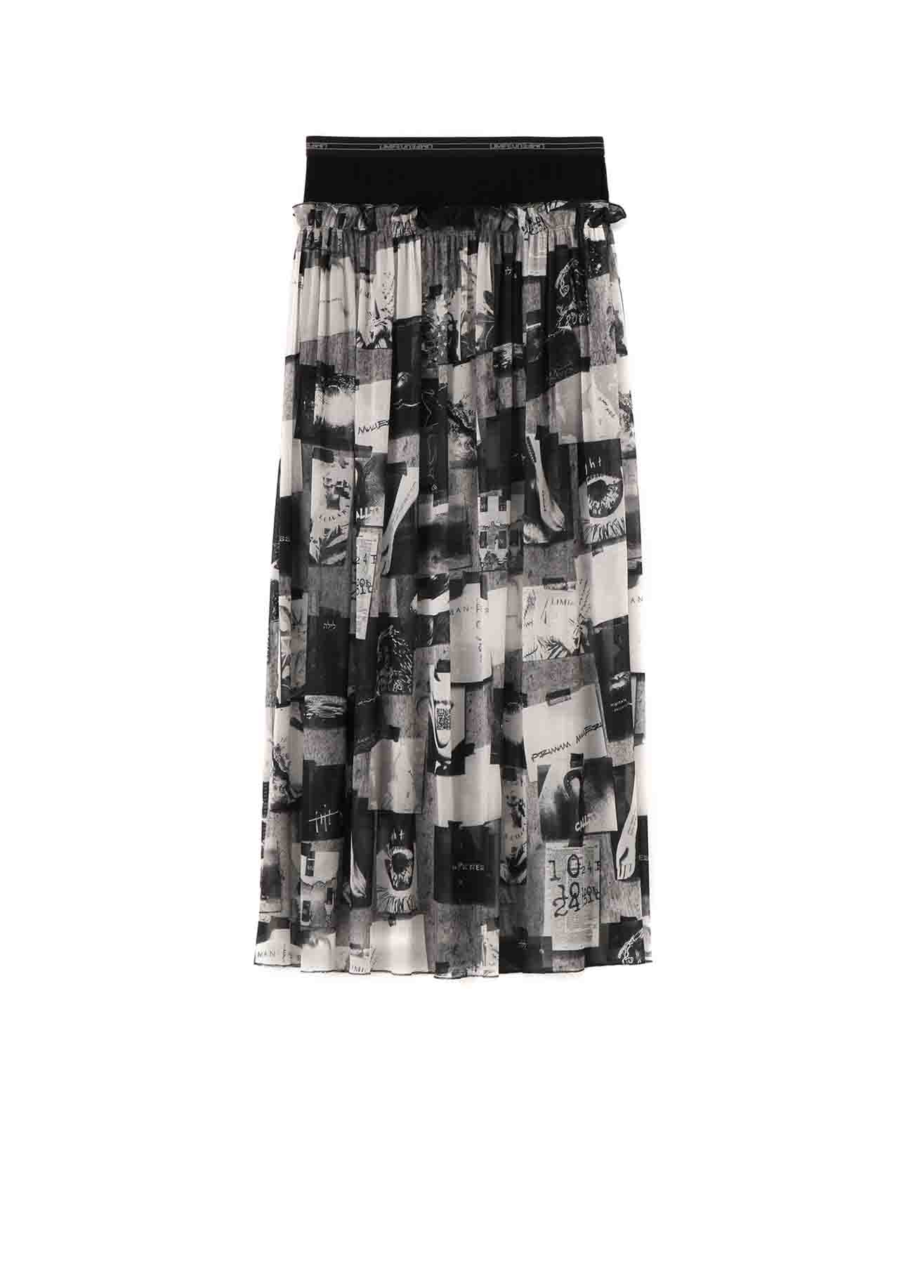 2021 Material Print Mesh Layered Gather Skirt