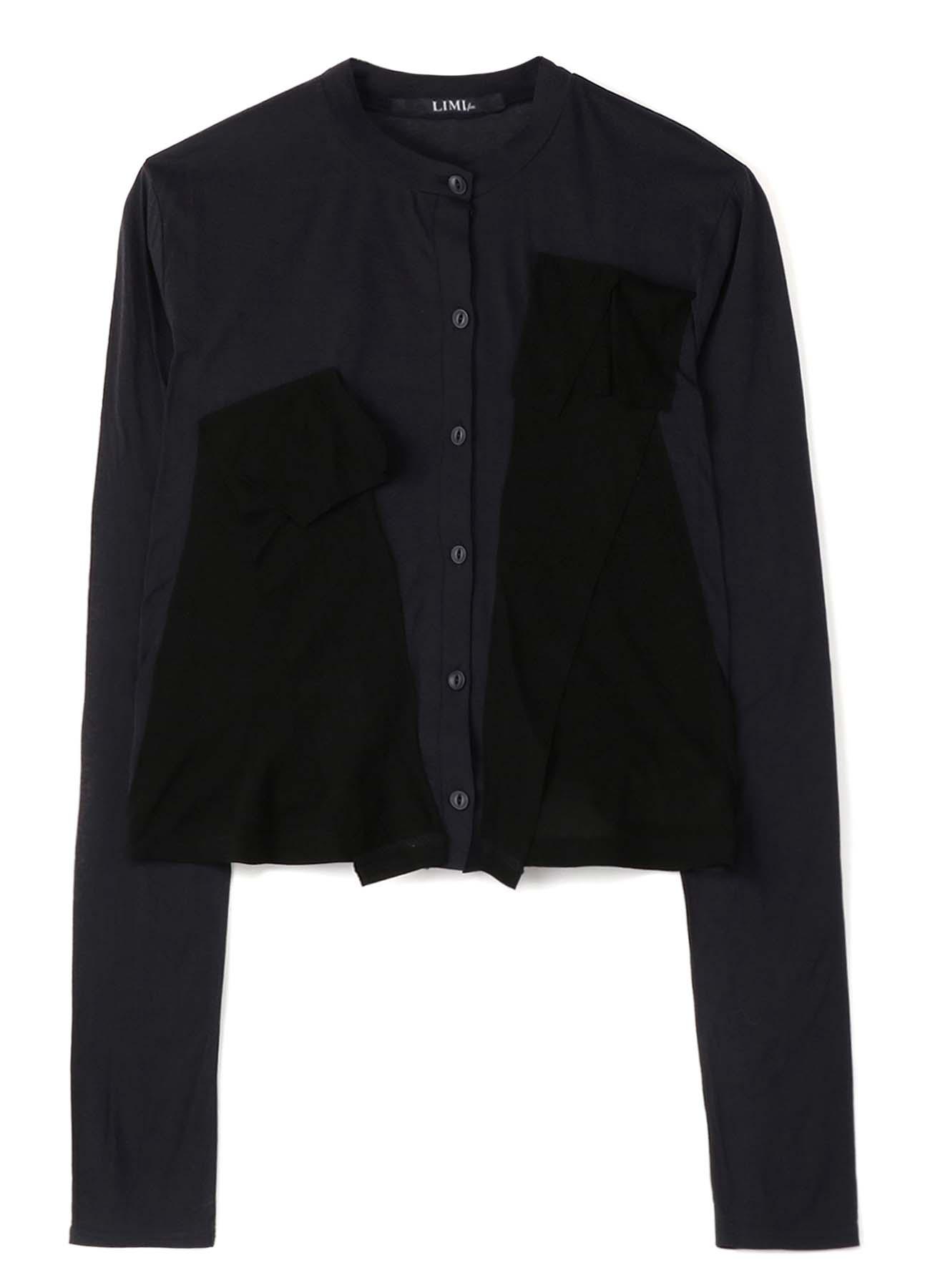 Cotton Crepe Plain Stitch Mix Layered Design Cardigan