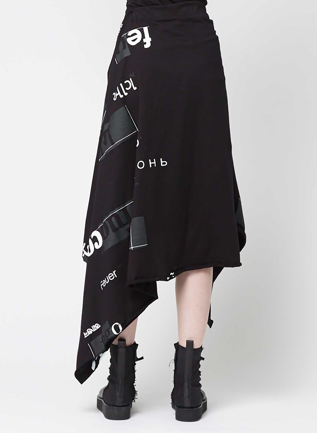 Words [Feu] Print 2 Drape Cut and sew Skirt