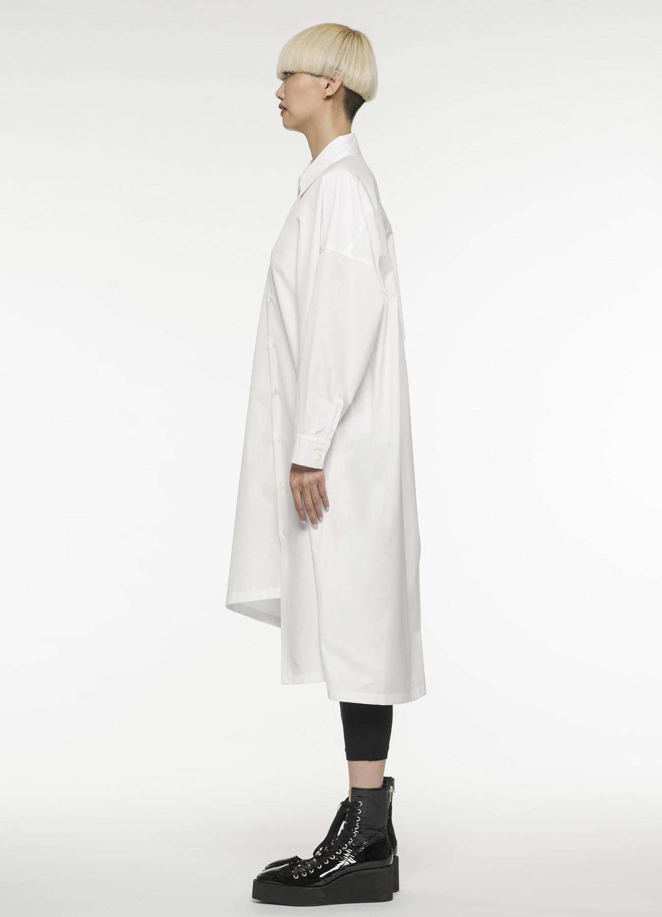 不对称设计开襟长款衬衫