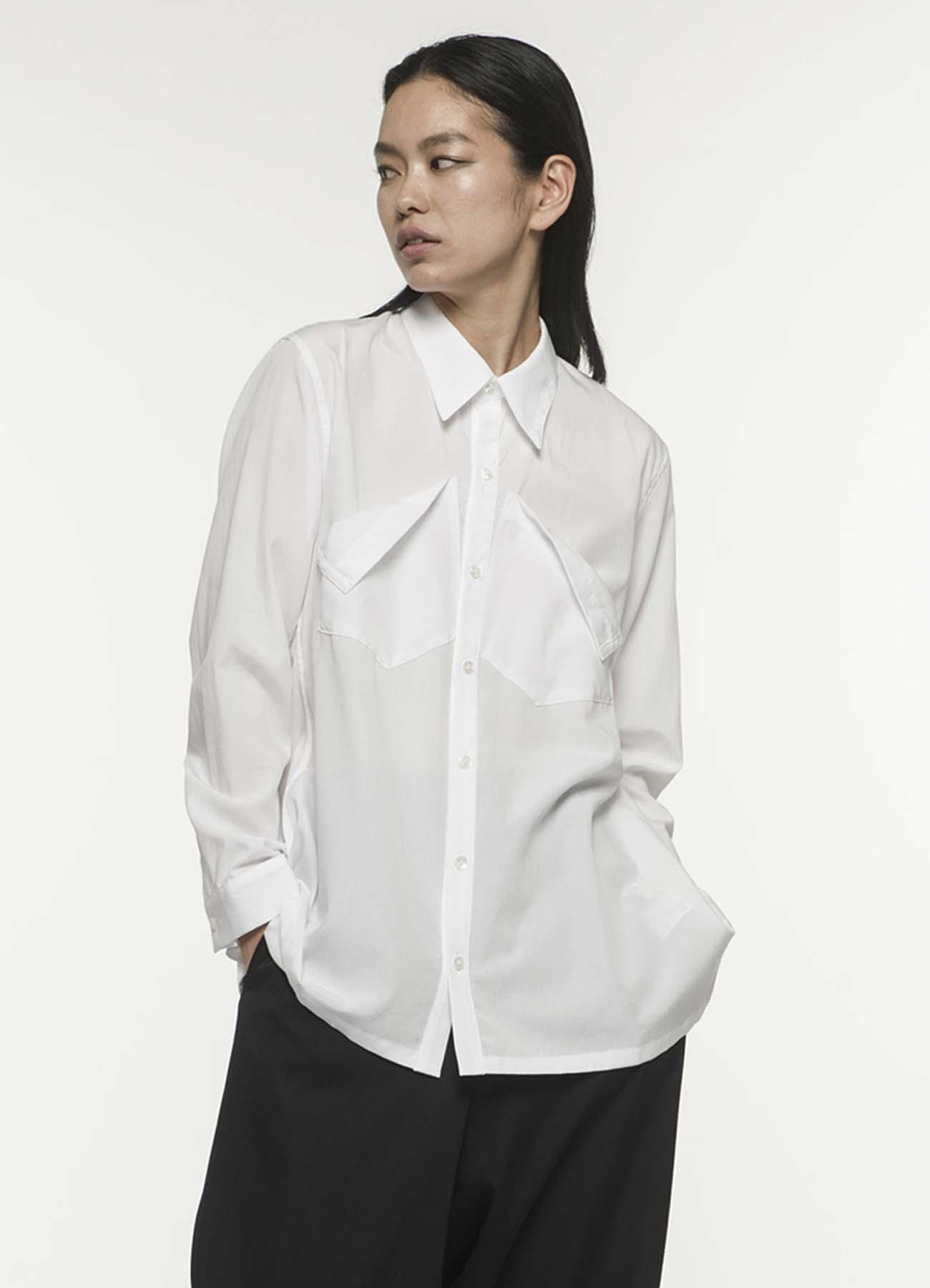 フィブリルブロードフロントポケットシャツ