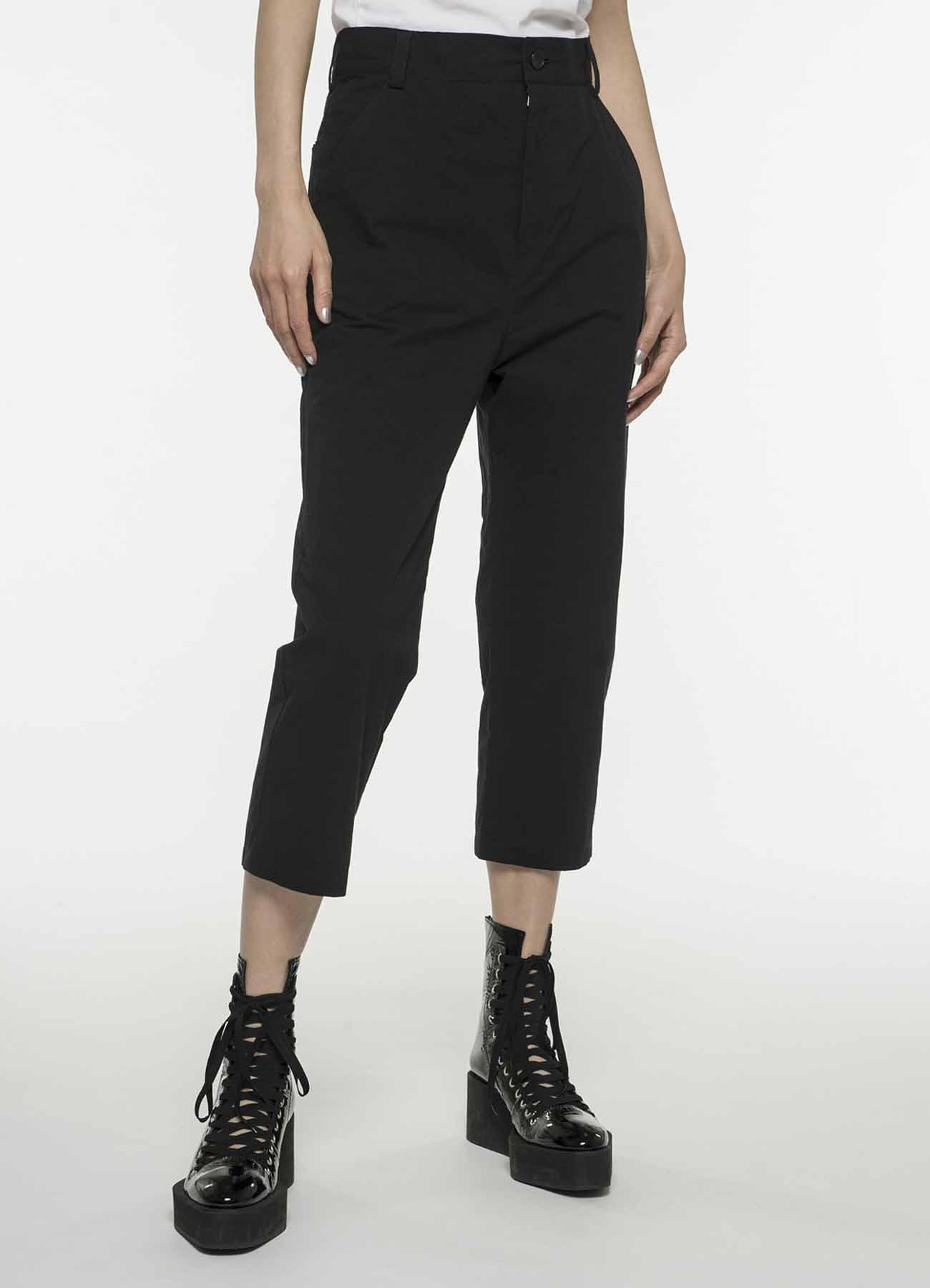 黑色混纺铅笔裤