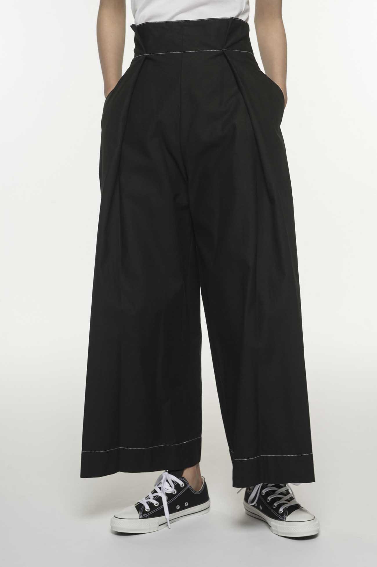 高腰缝线装饰阔腿裤