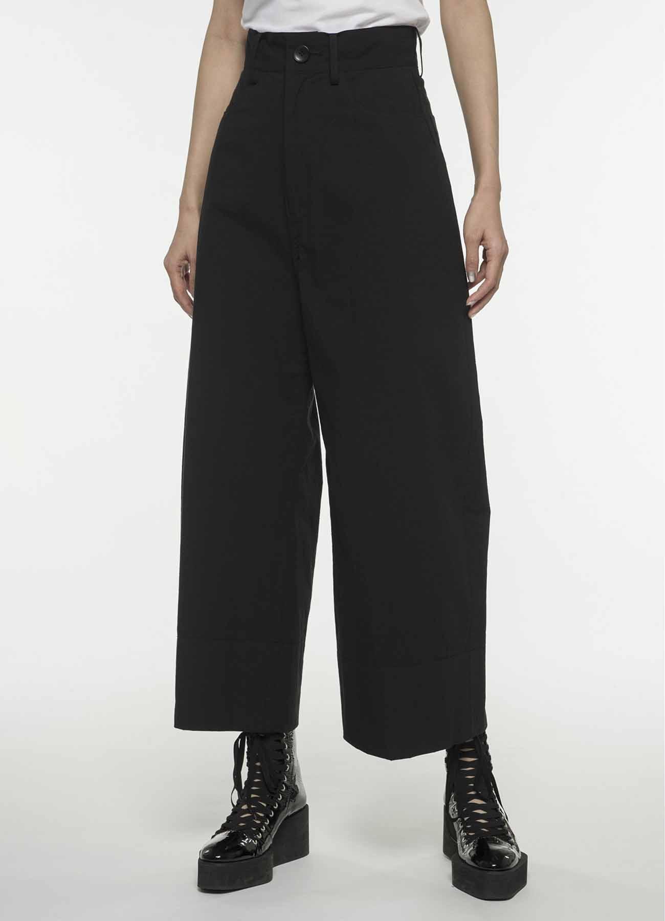 混纺阔腿裤