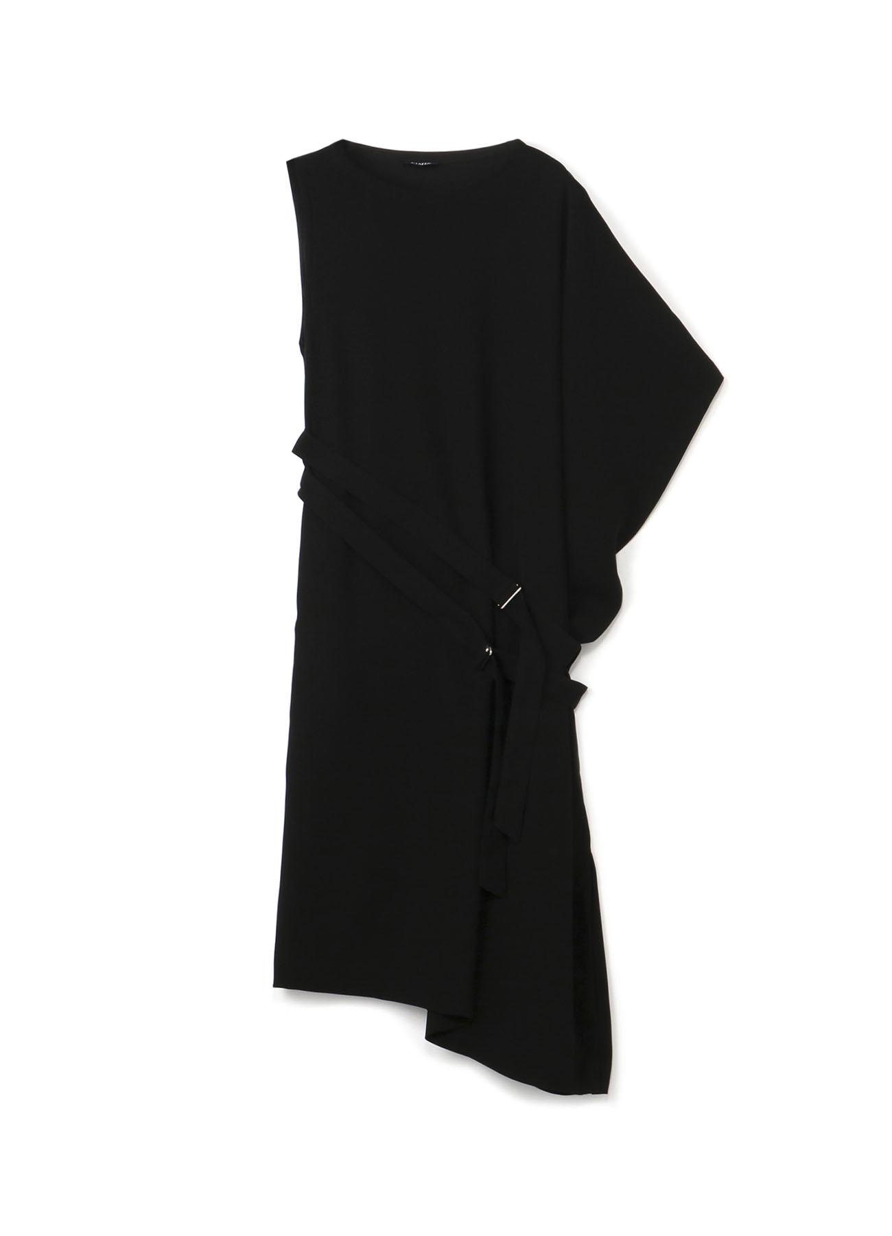 不对称设计双重腰带连衣裙