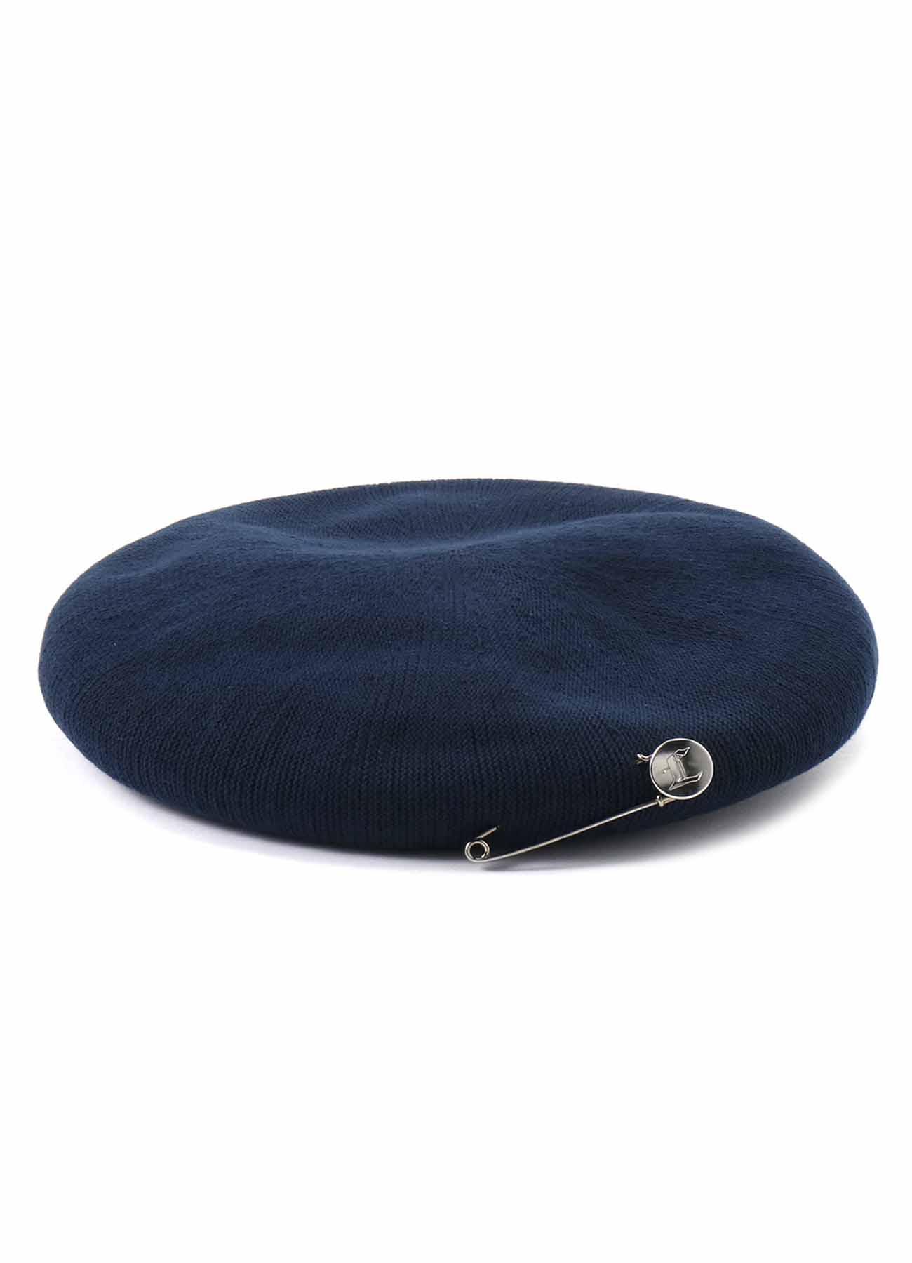 ウォッシャブルコットンLドットピン付ベレー帽