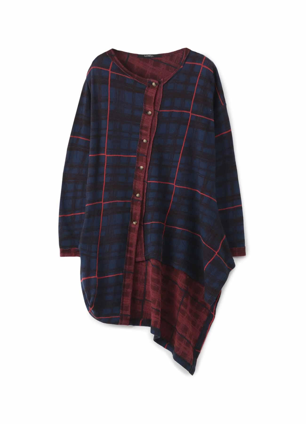 棉制格纹不对称开衫