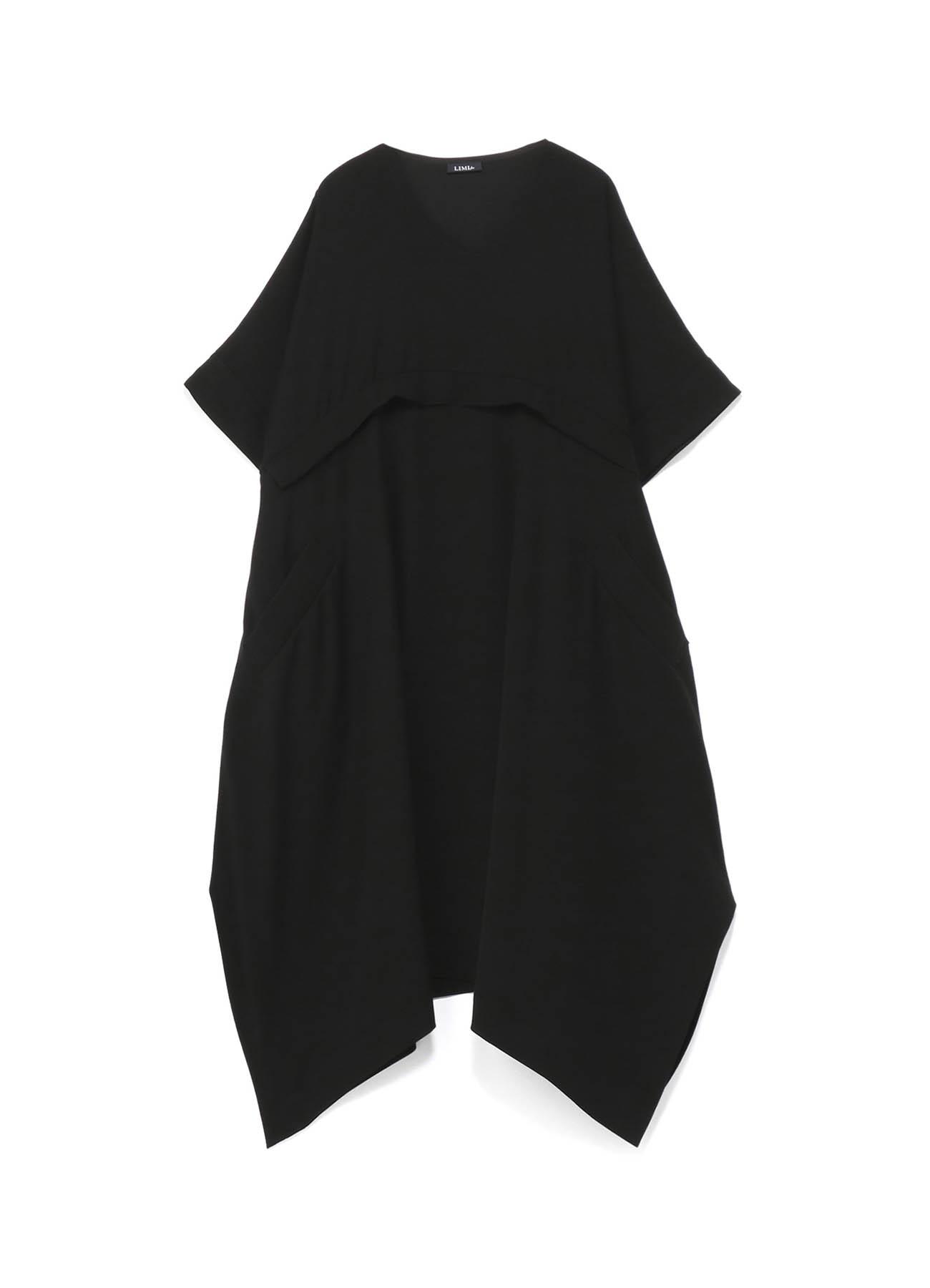 双色缎面V领喇叭形连衣裙A