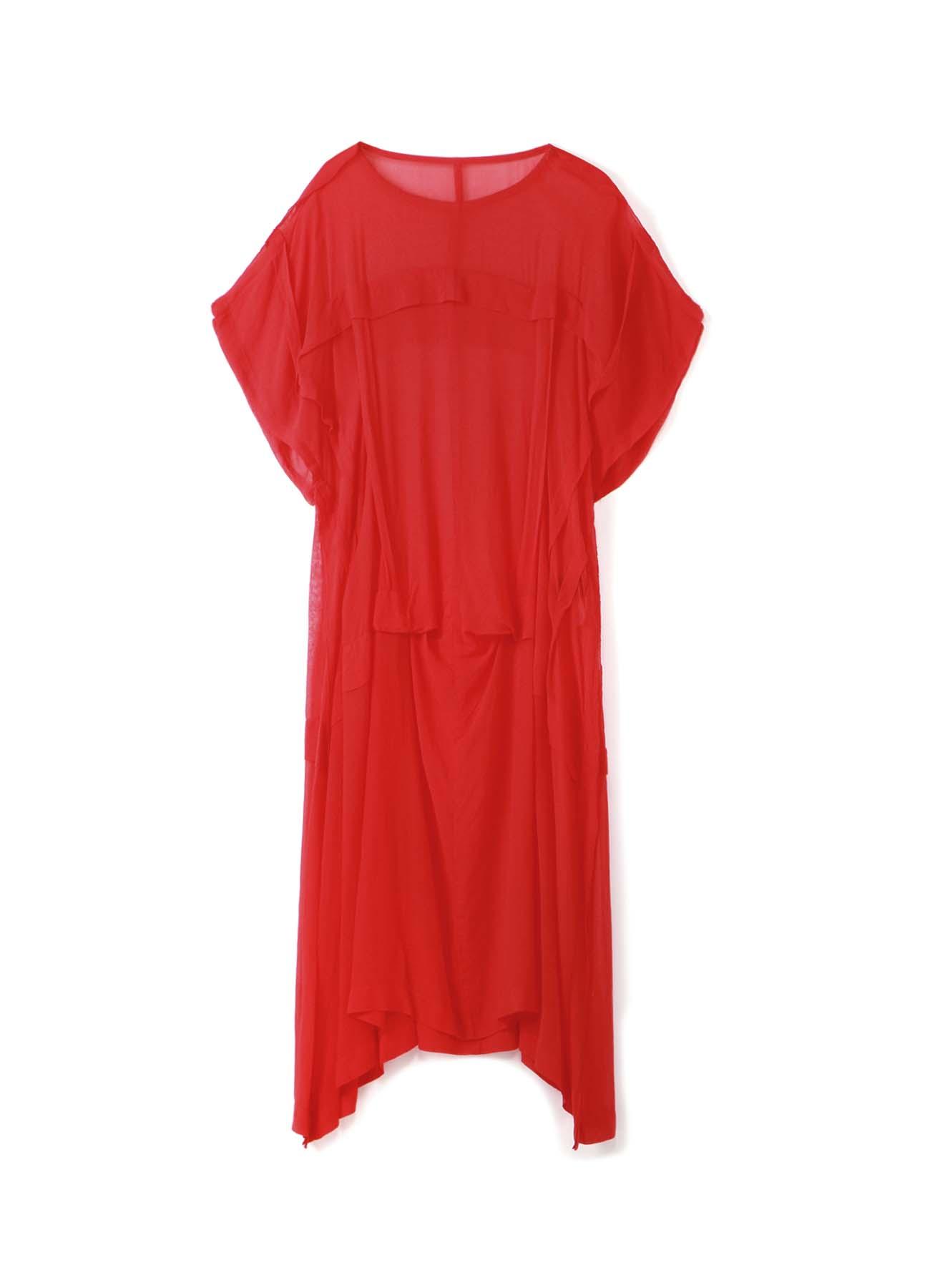 製品染シフォンタックドレス