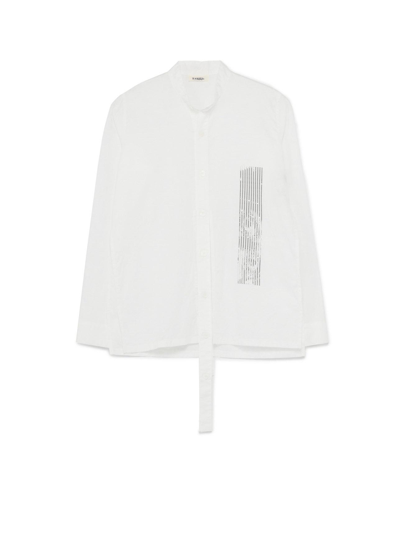 Cotton Ascii Eye Print A Stand Collar Long Tape Shirt