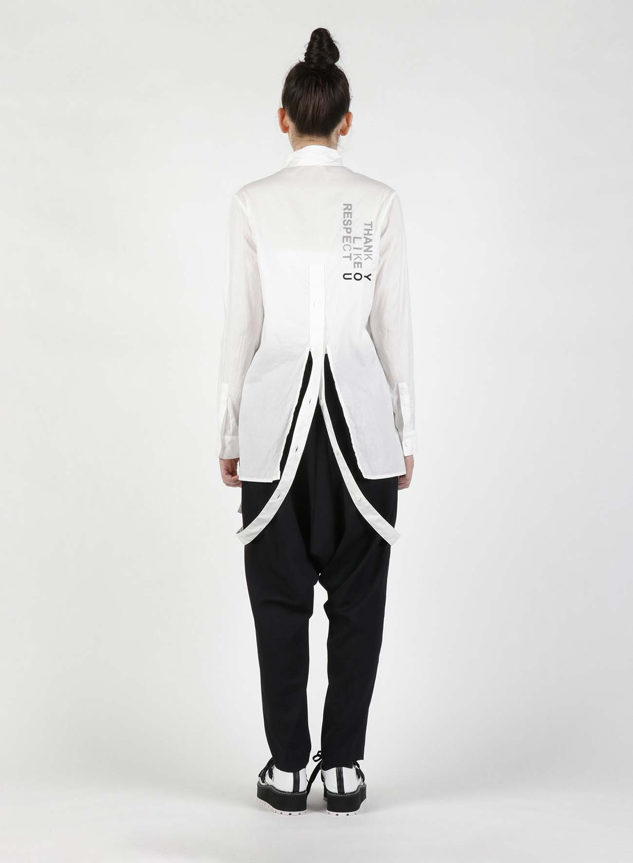 Cotton Fuxk You Embroidery Long Tape Shirt