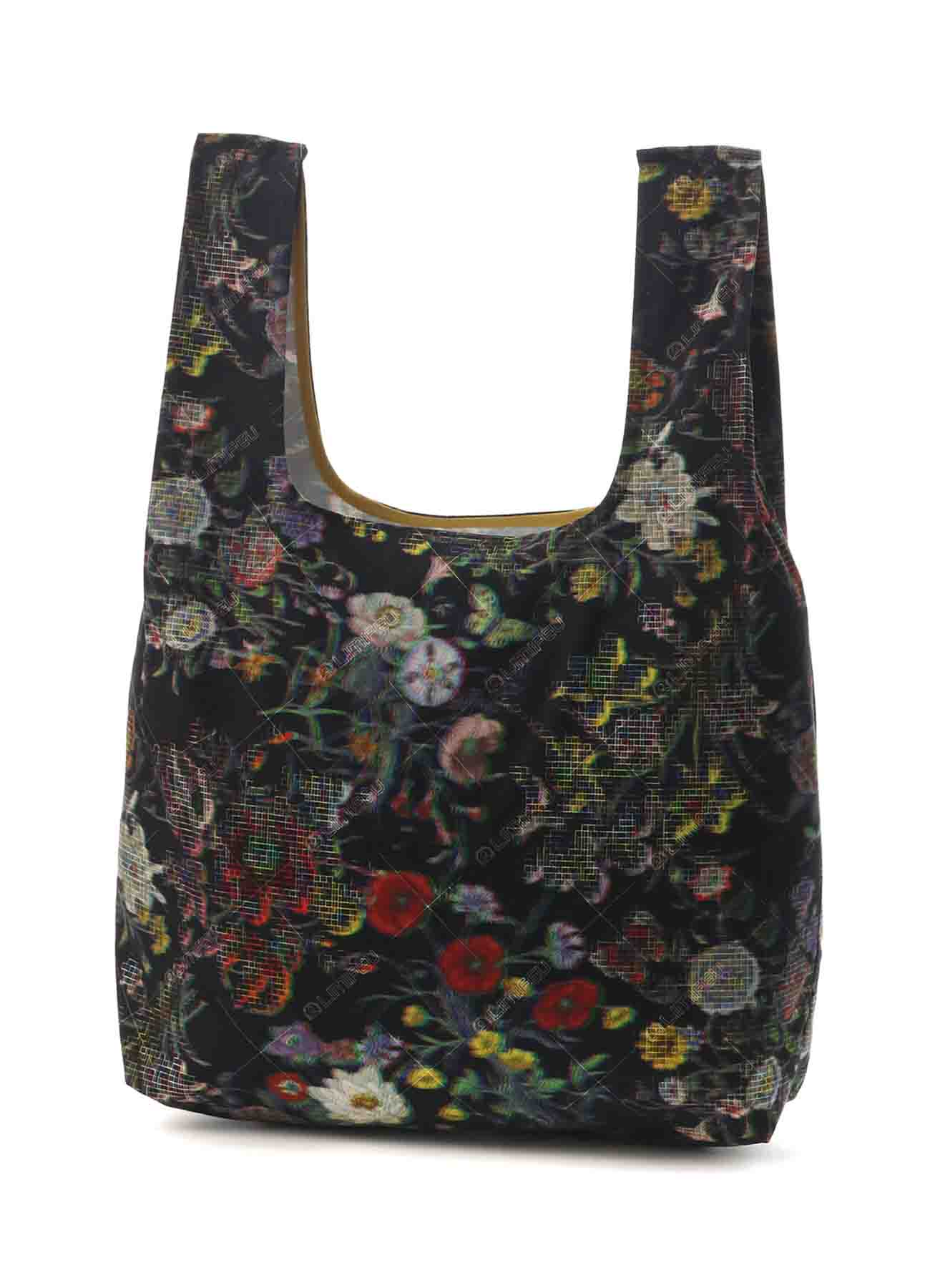 Mosaic Flower Print Cotton Shopping Bag