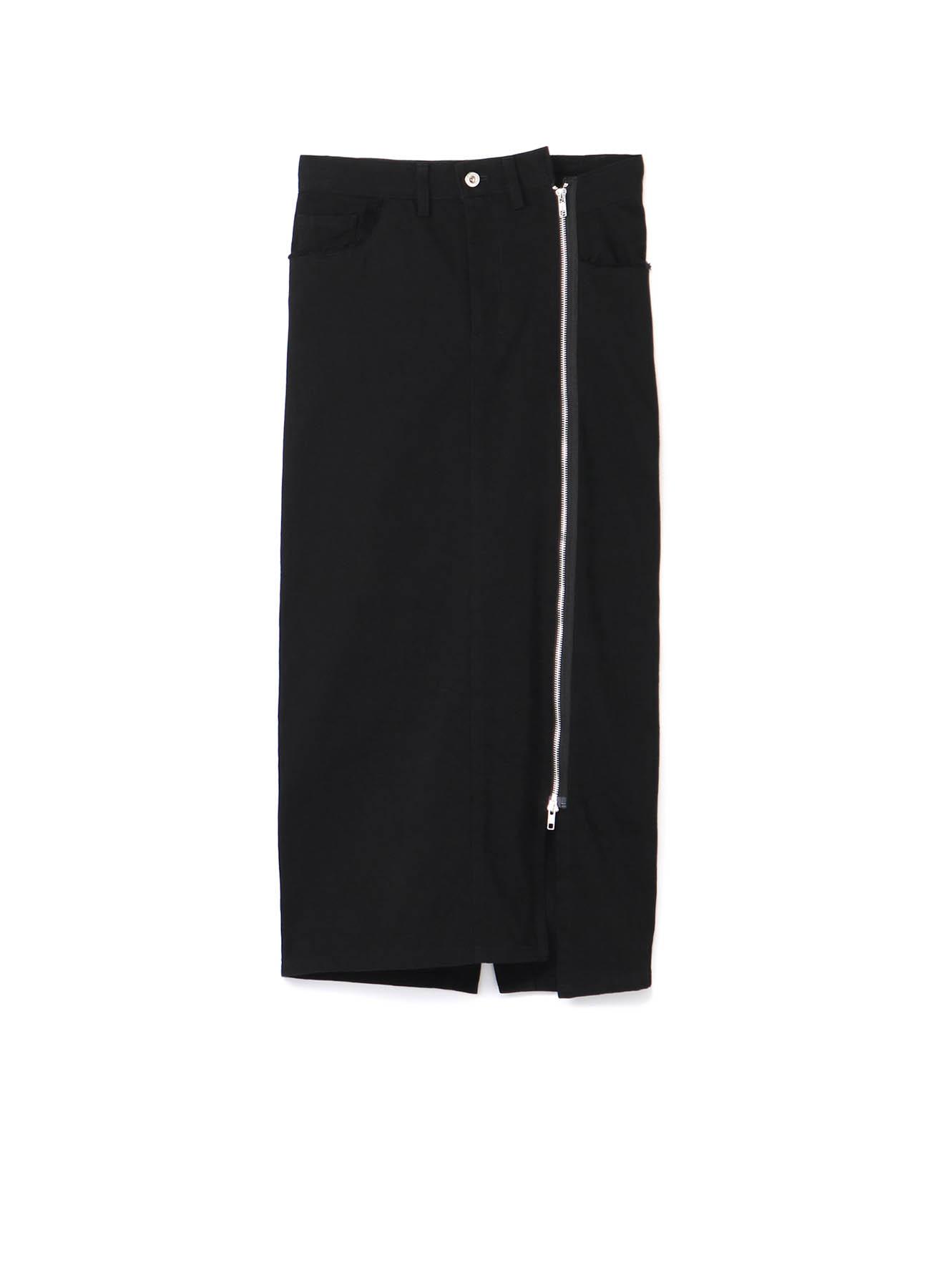 Black Denim Tight Fastener Skirt