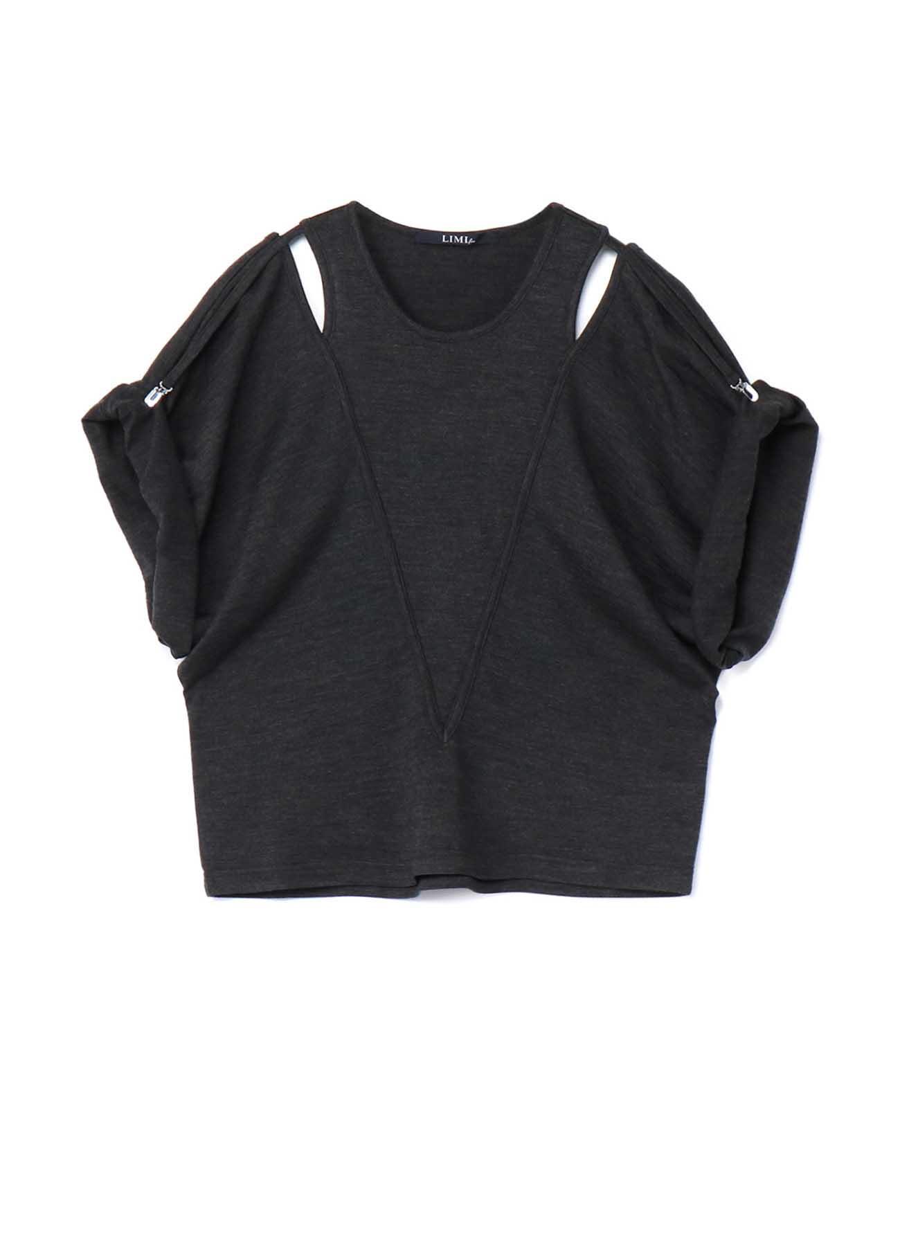 Silky Wool Plain stitch Suspender Slit T-Shirt