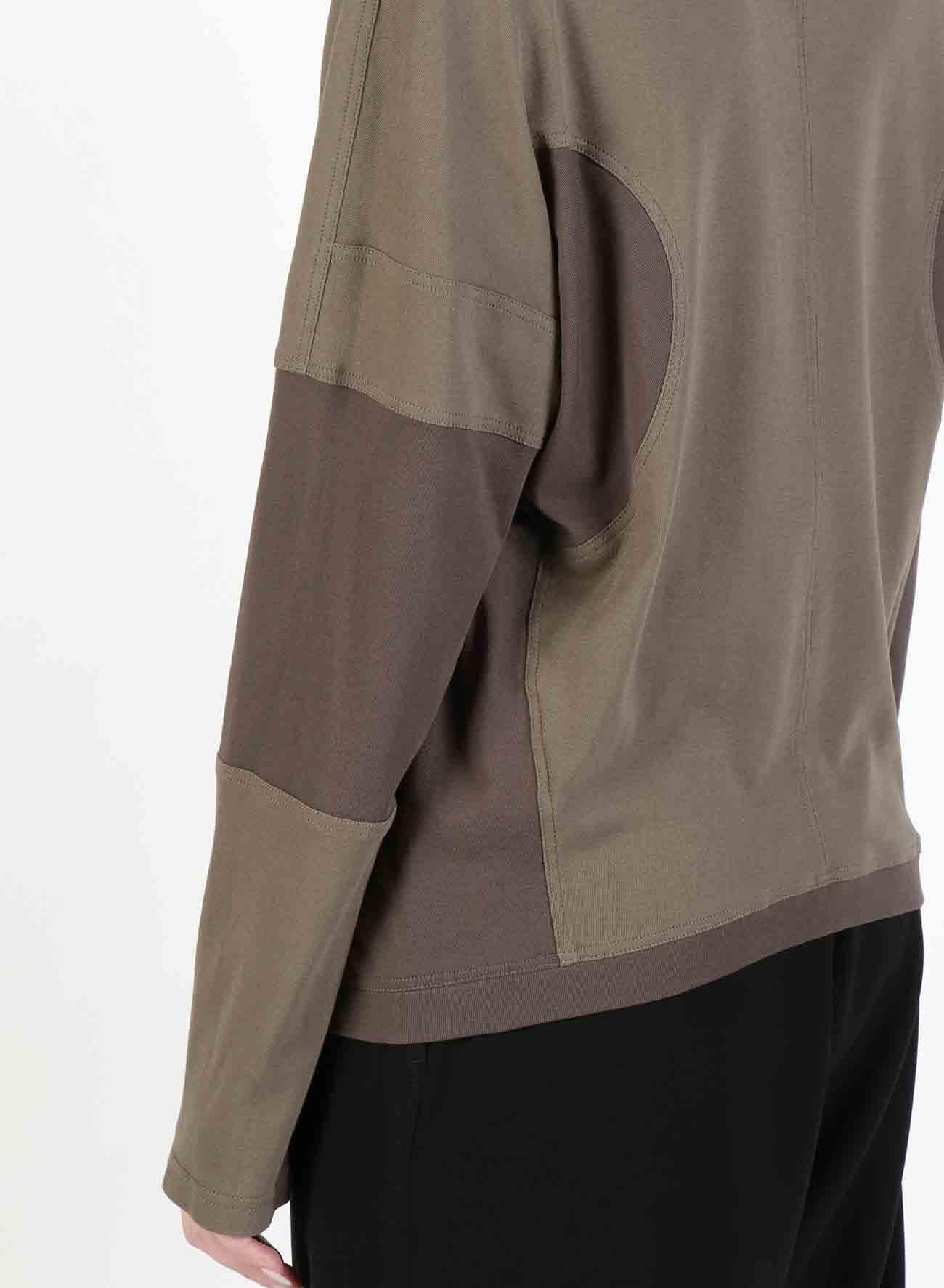 Cotton Felt Combination Panel T-Shirt