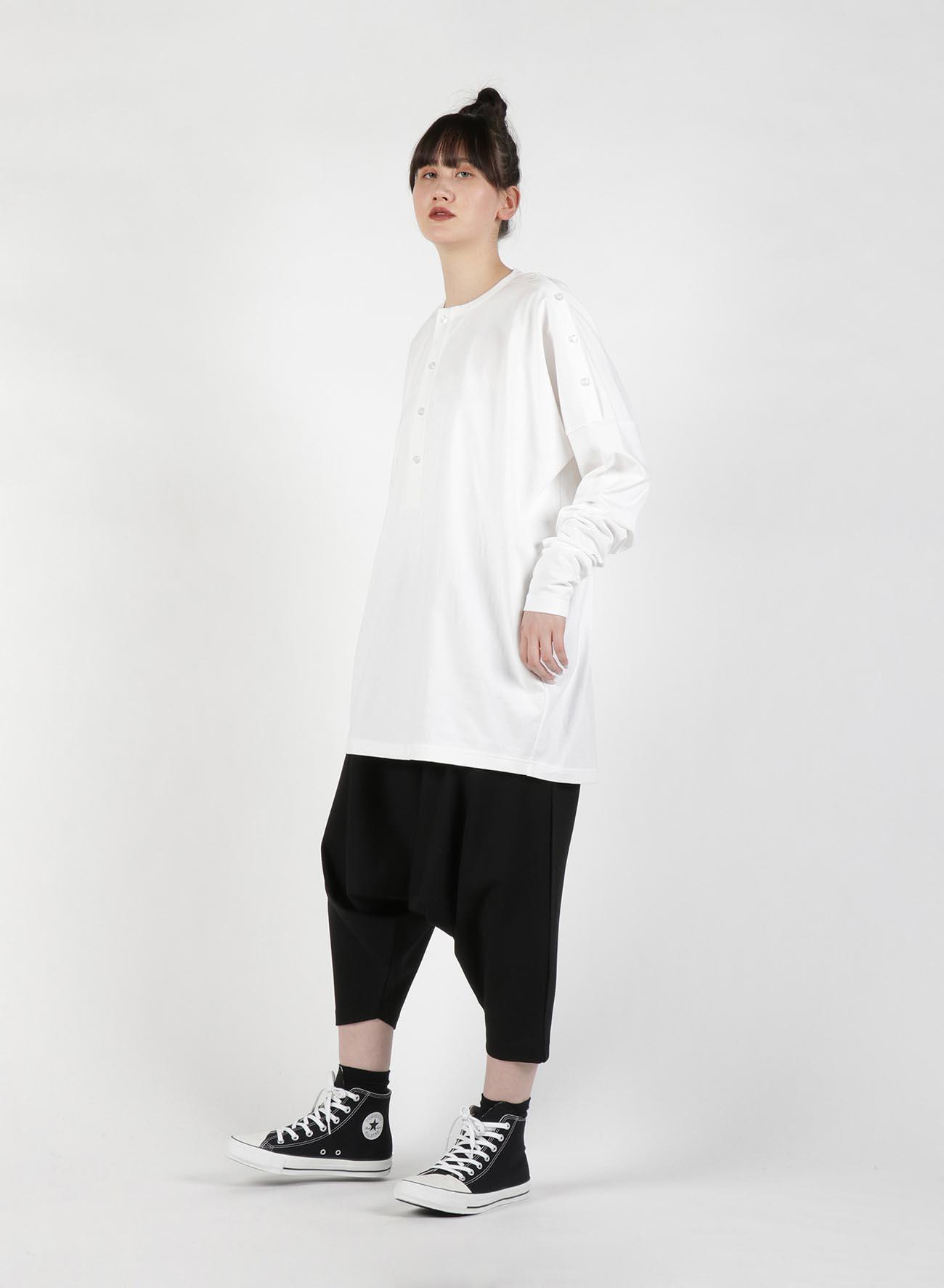 40/2 Cotton Plain stitch Shoulder Open T-Shirt