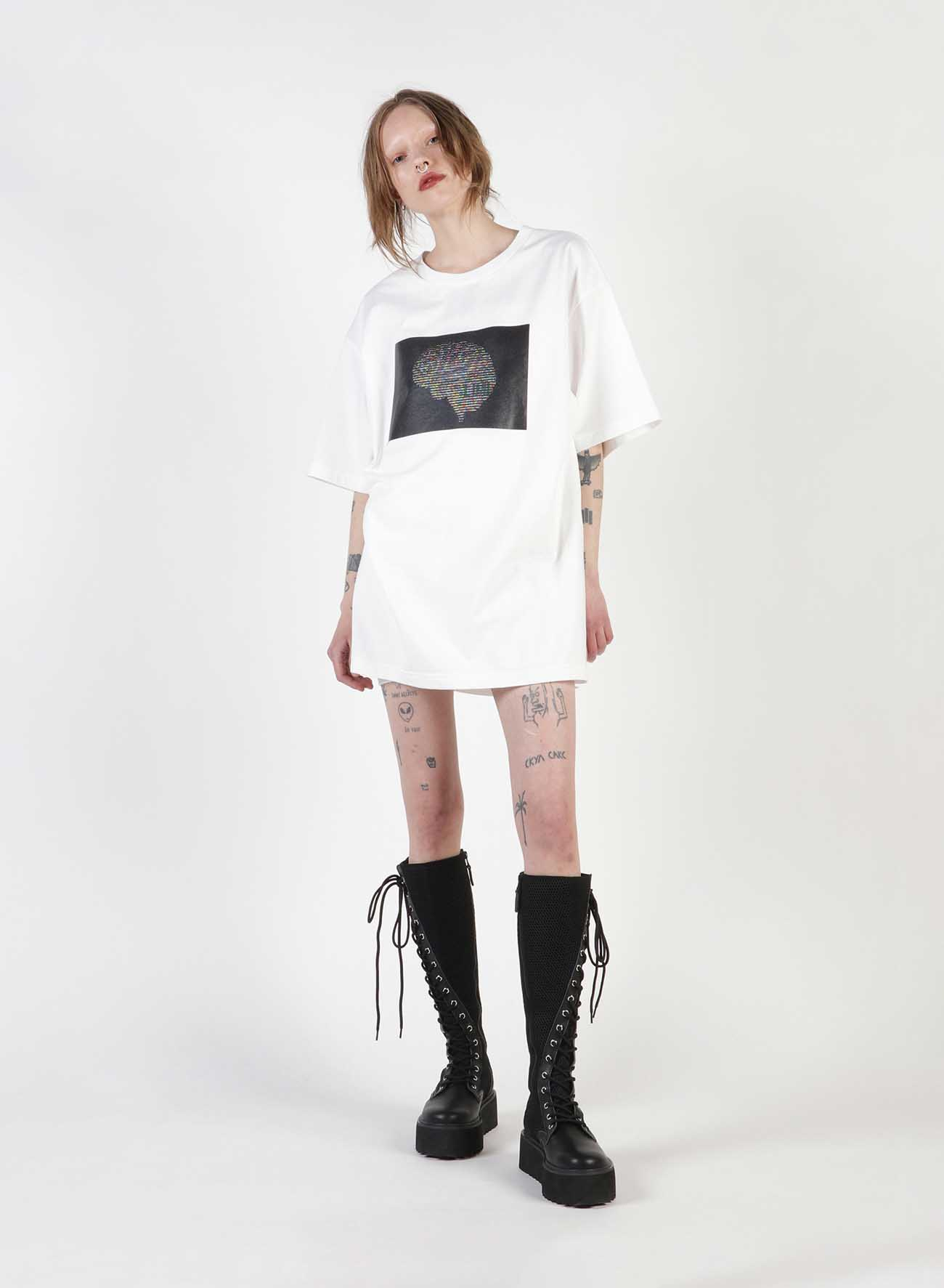 Ascii Brain Print Oversized T-Shirt