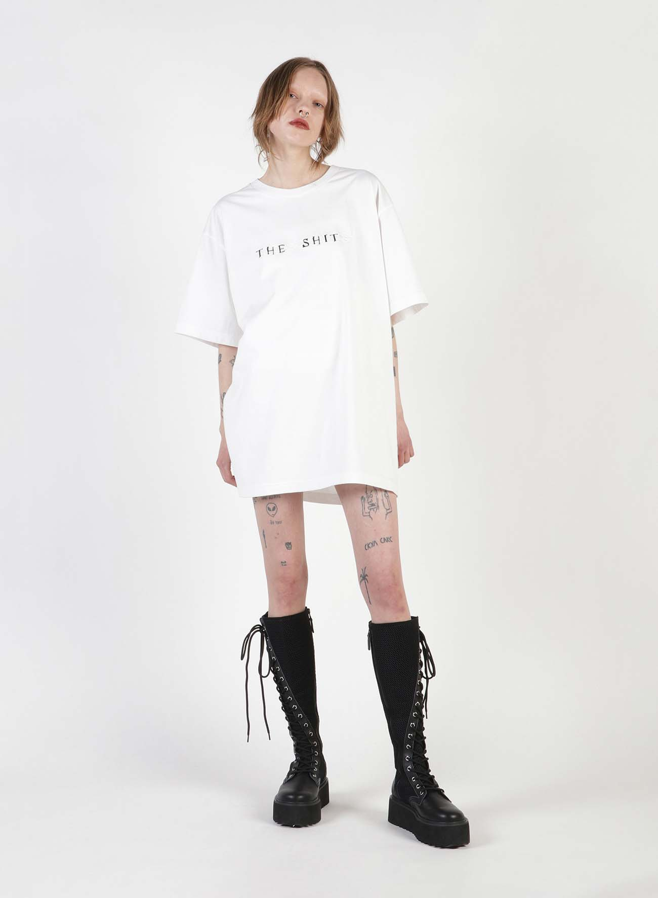 THE SHITS Embroidery Oversized T-Shirt