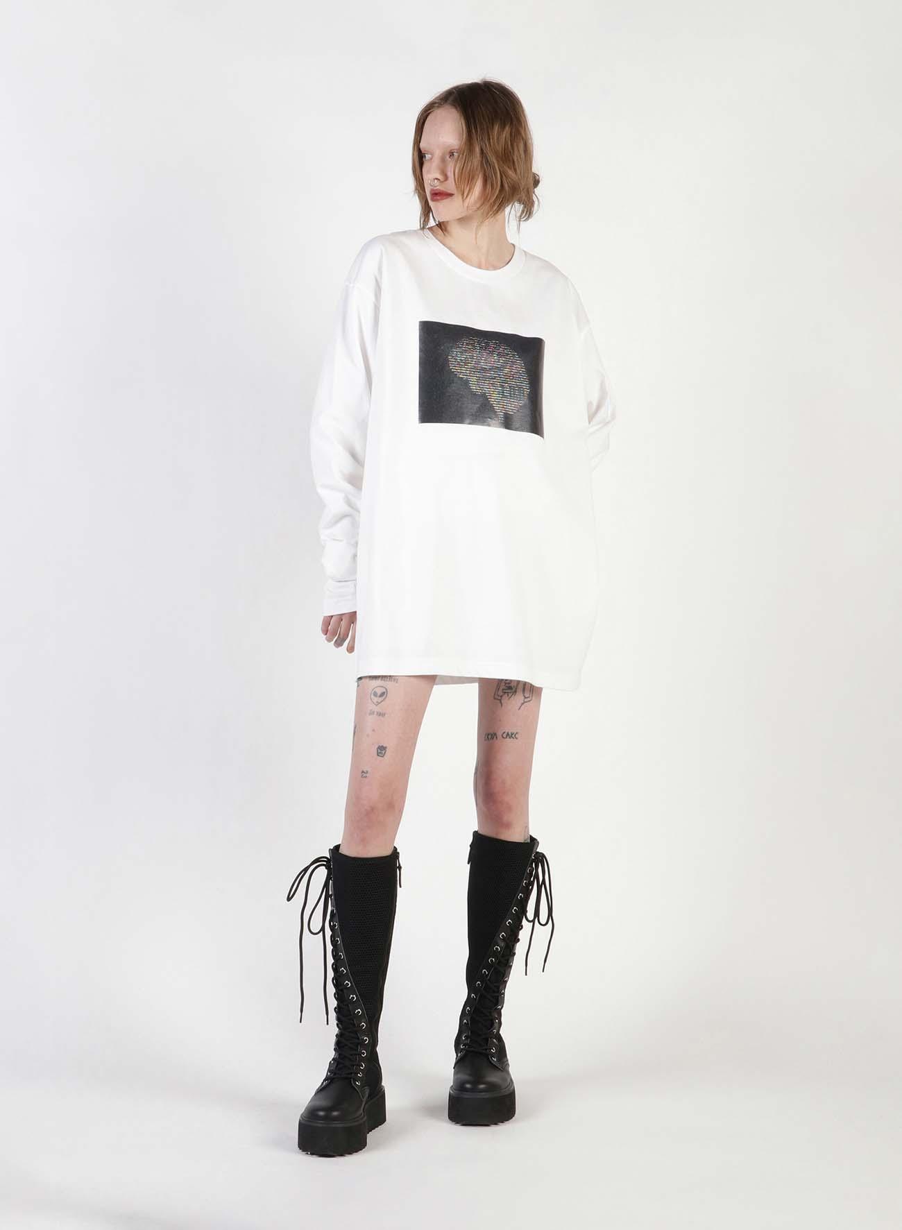 Ascii Brain Print Oversized Long T-Shirt