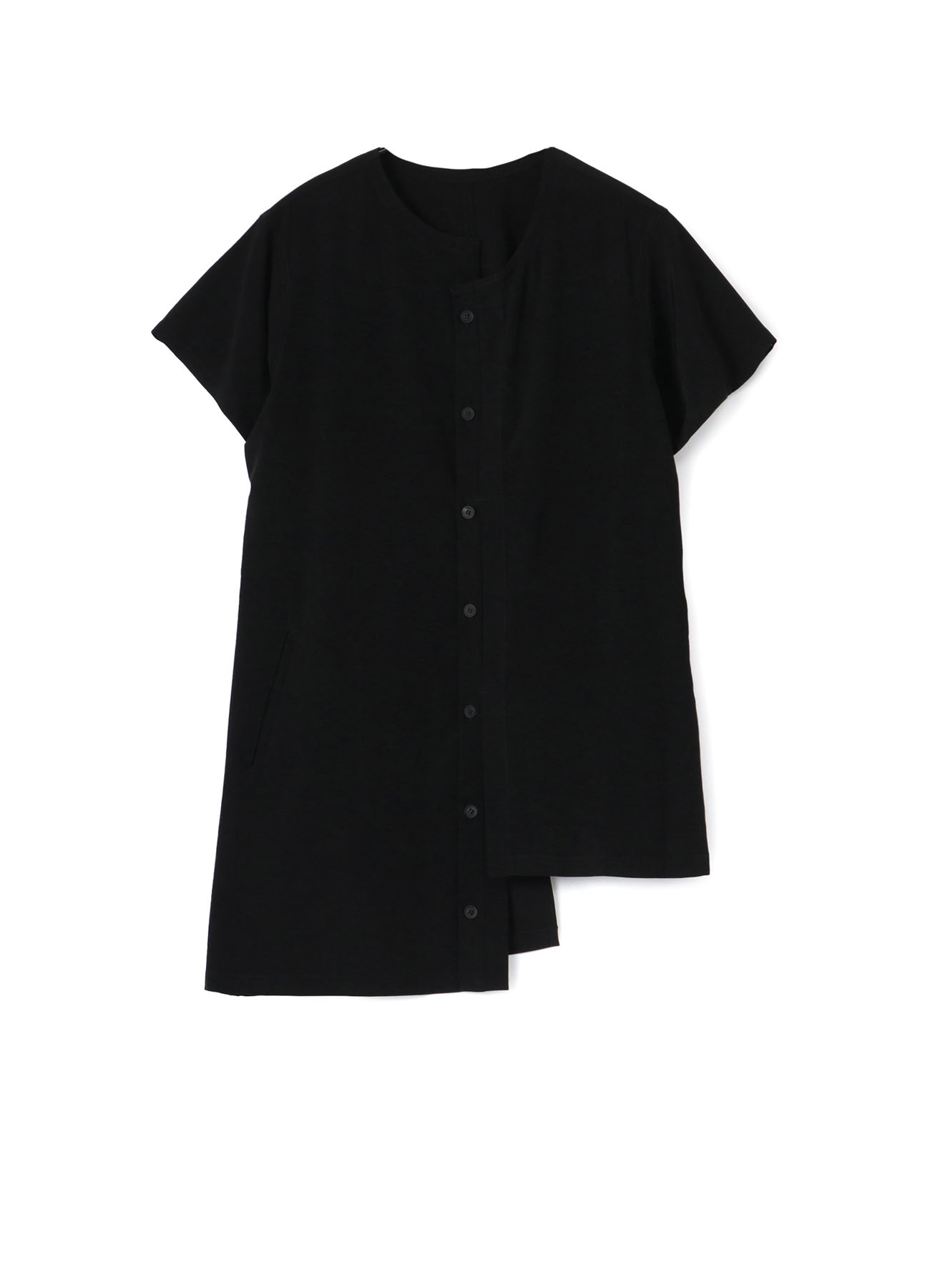TA/PE CREPE DE CHINE B/COLLAR UNEVEN SHORT SLEEVE B