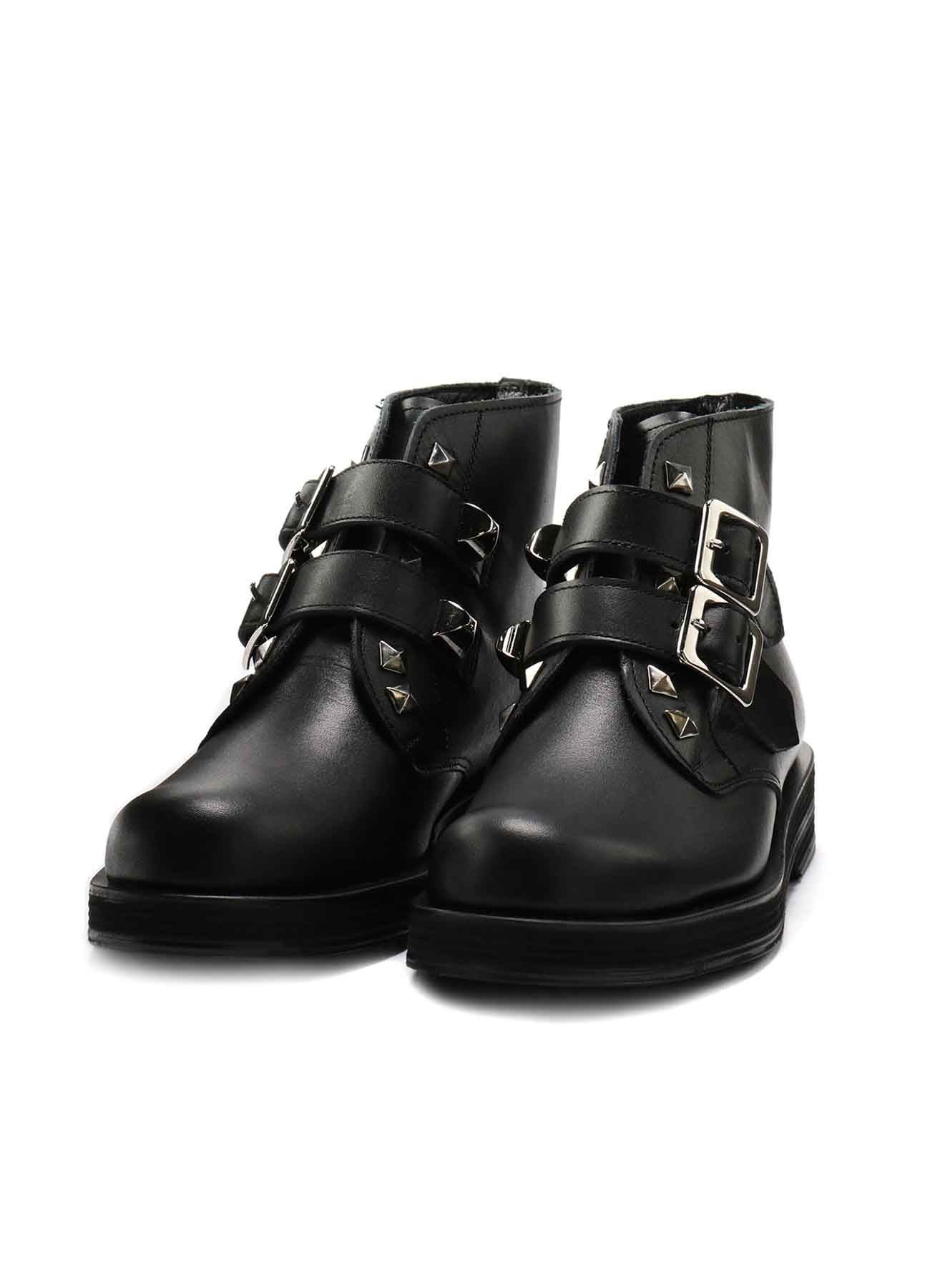 SMOOTH LEATHER STUDS STRAP BOOTS