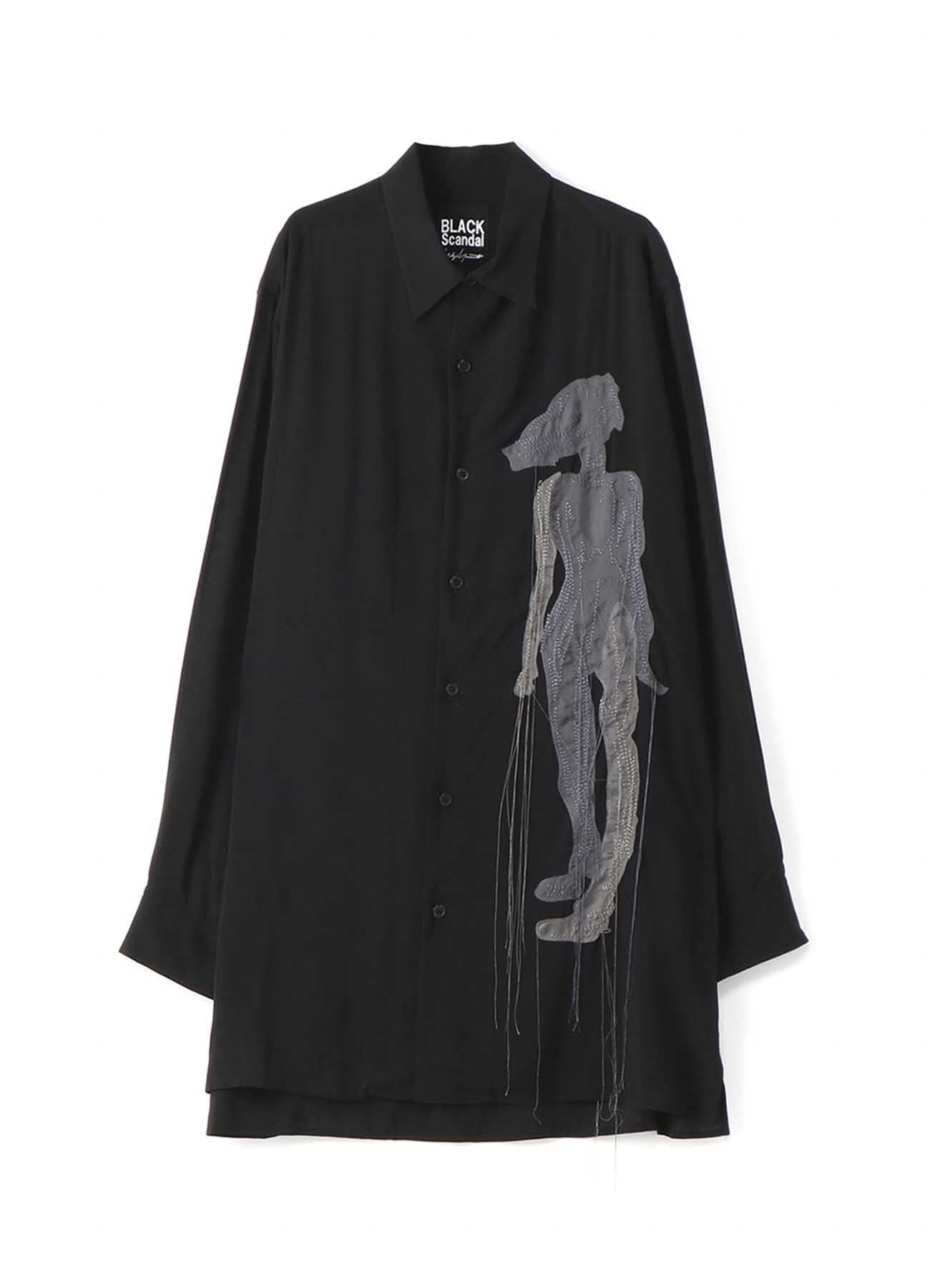 BLACK Scandal? 裾スクエア「シルエット」刺繍シャツ