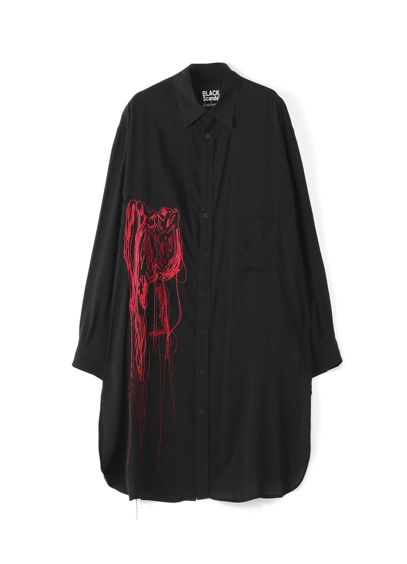BLACK Scandal? 裾ラウンド「シルエット」刺繍オーバーシャツ