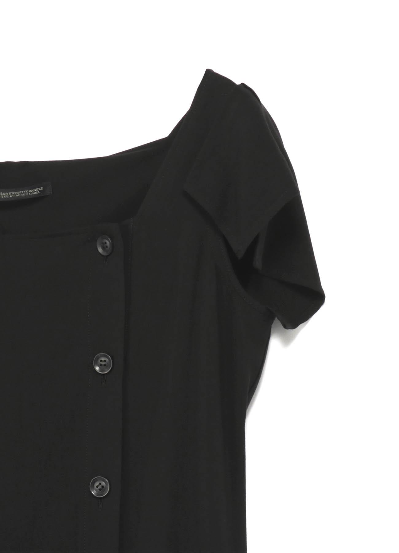 強撚ギャバフラシ袖ドレス
