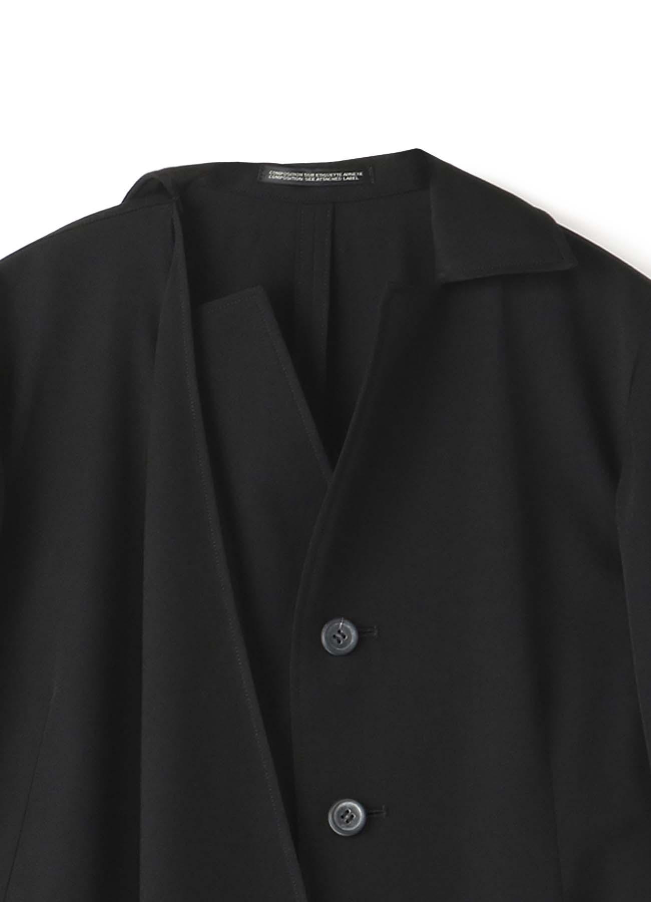 シワギャバ ドレープ半袖ドレス