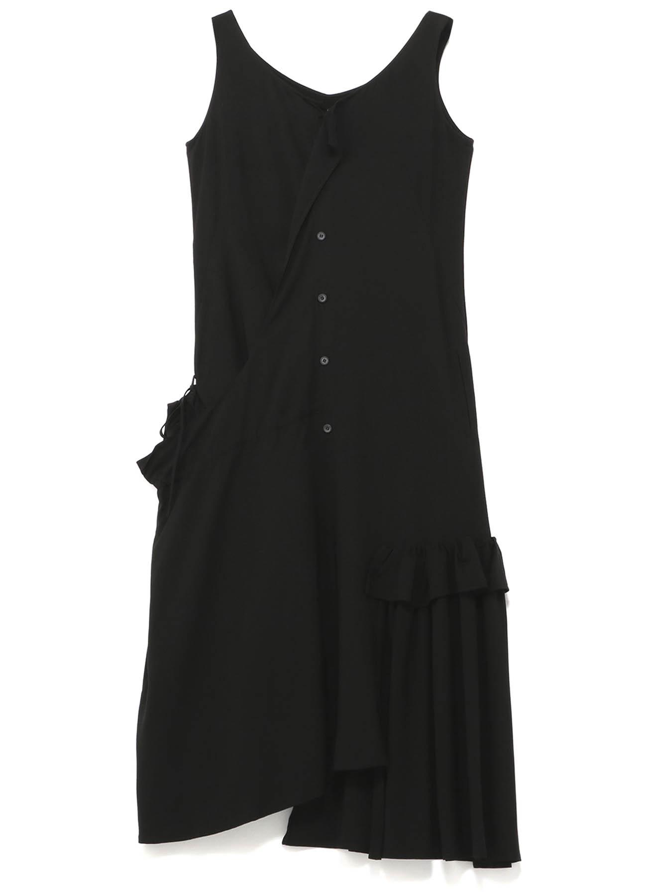 強撚ギャバギャザーノースリーブドレス