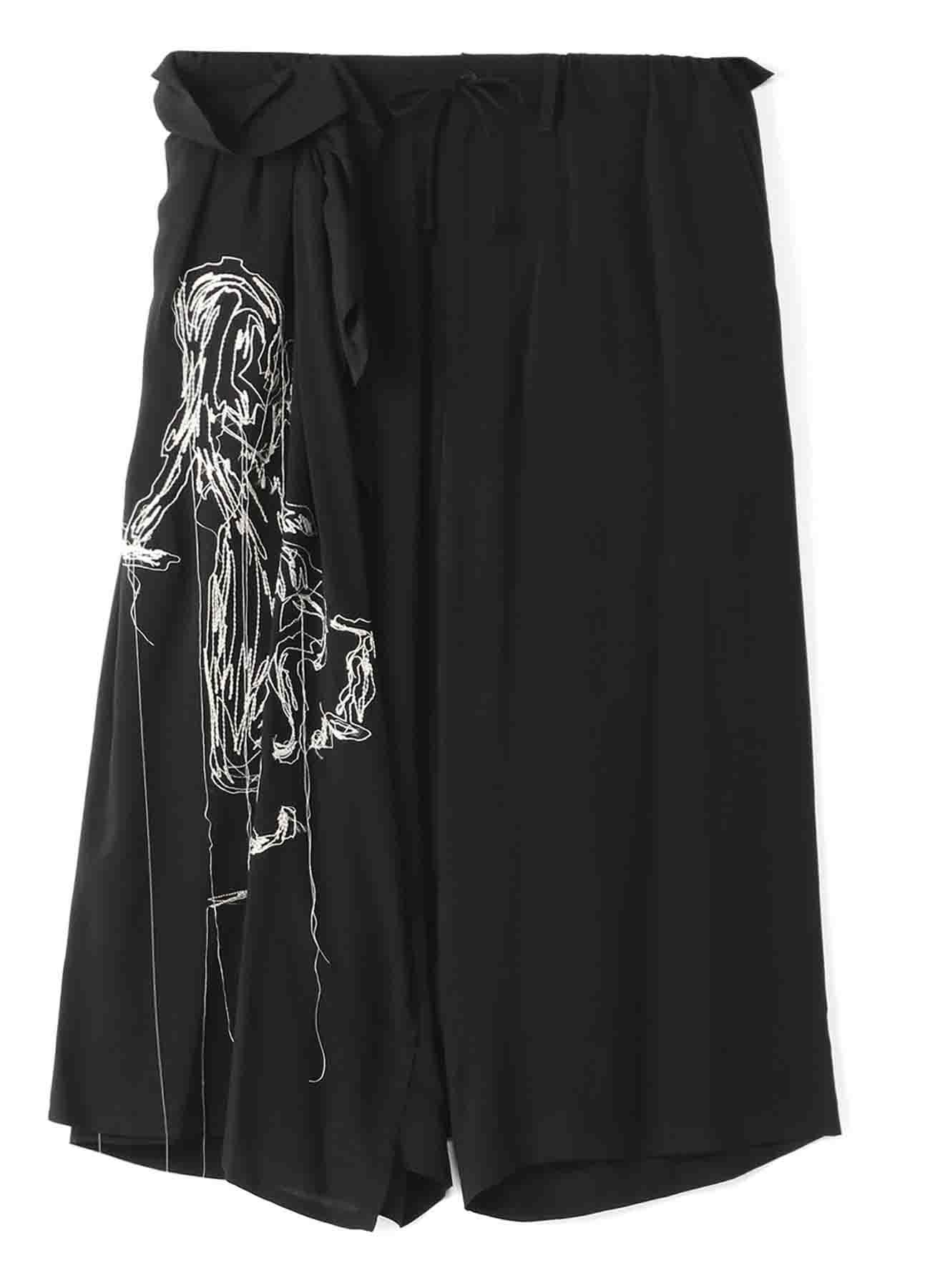 BLACK Scandal 「シルエット」刺繍ギャザースカートパンツ