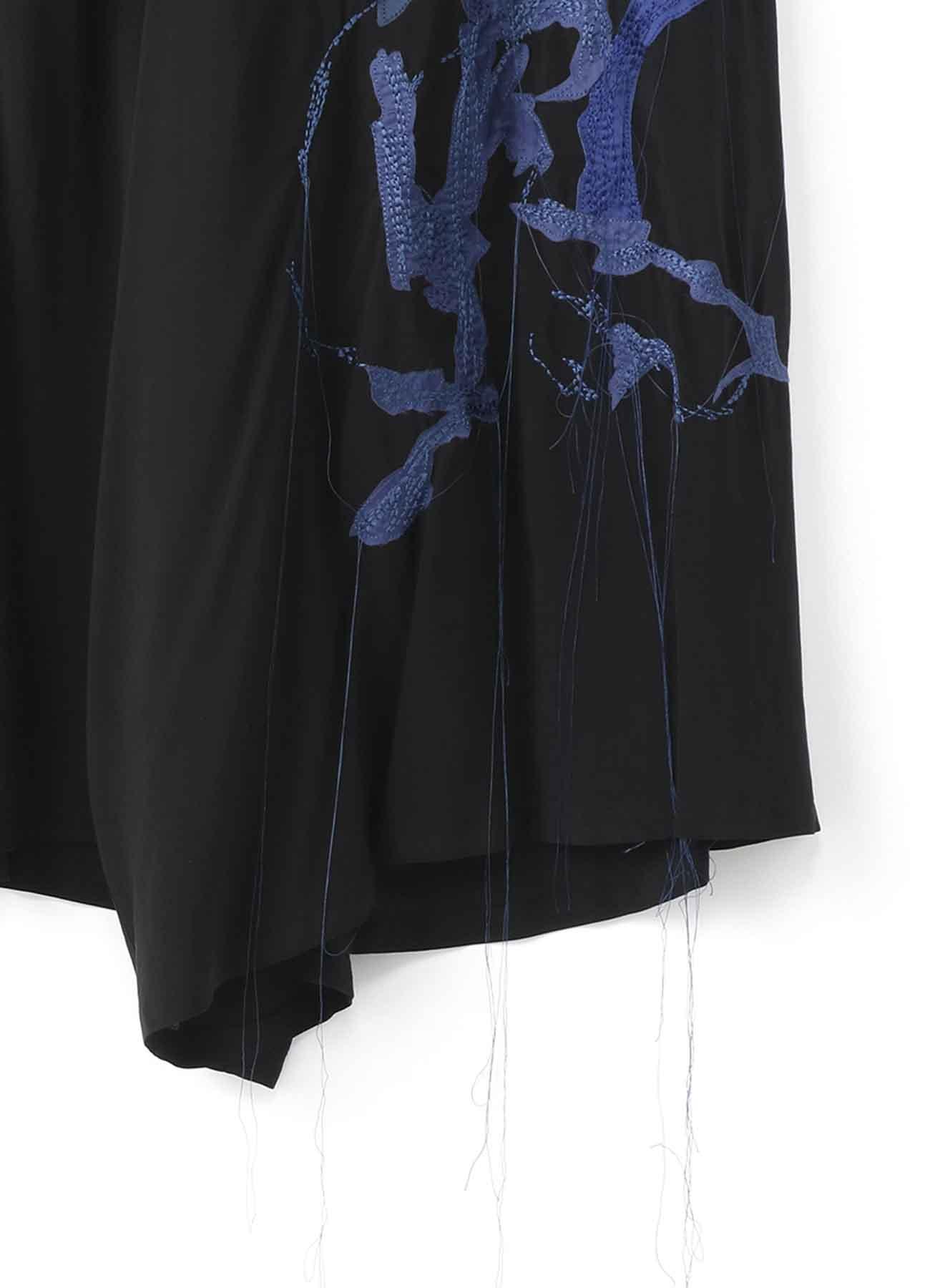 BLACK Scandal? 後ろタック「シルエット」刺繍フレアパンツ
