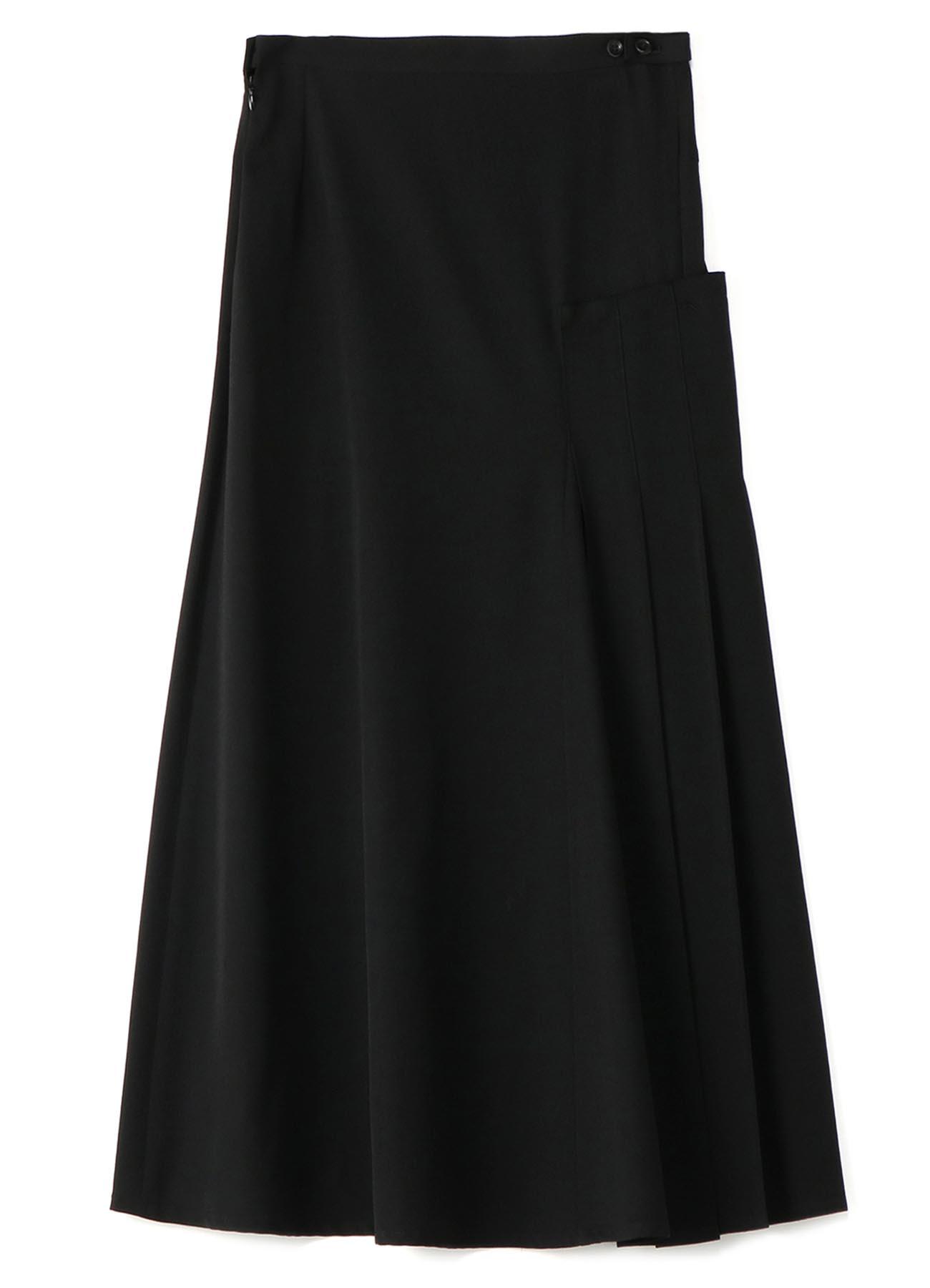 シワギャバ右脇プリーツスカート